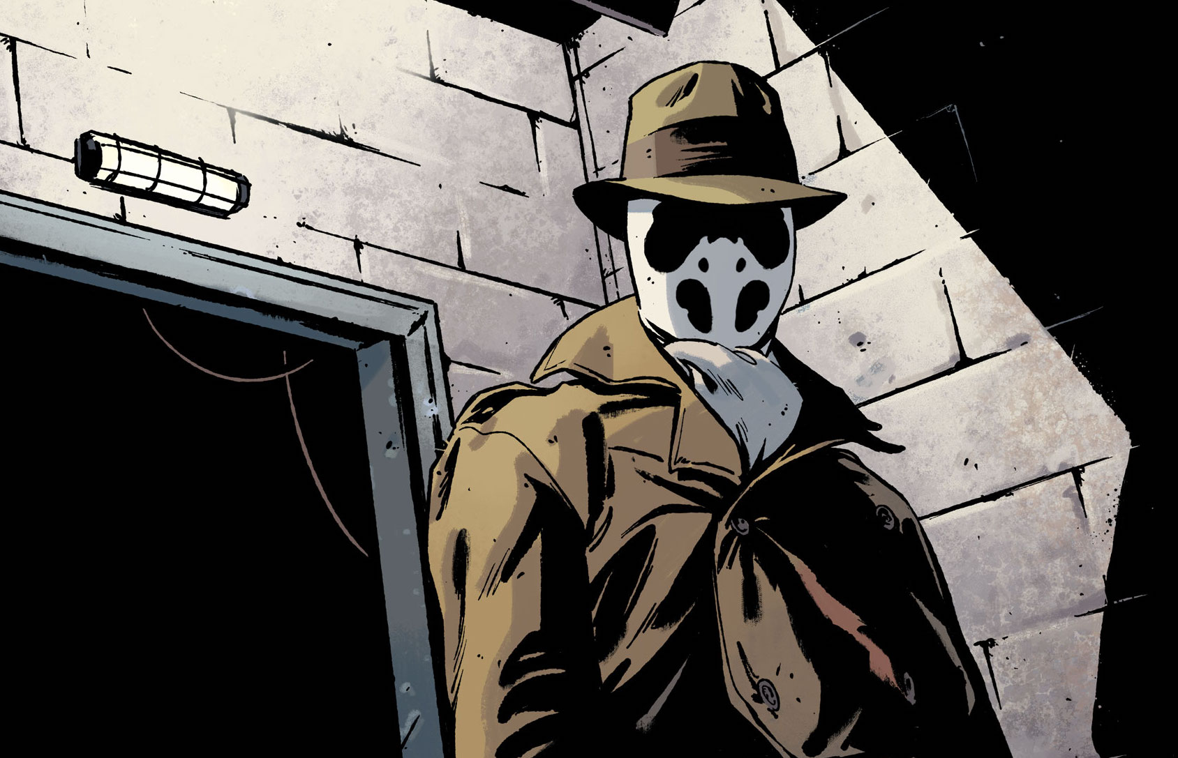A man dressed as Rorschach stands in a doorway in Rorschach #1, DC Comics (2020).