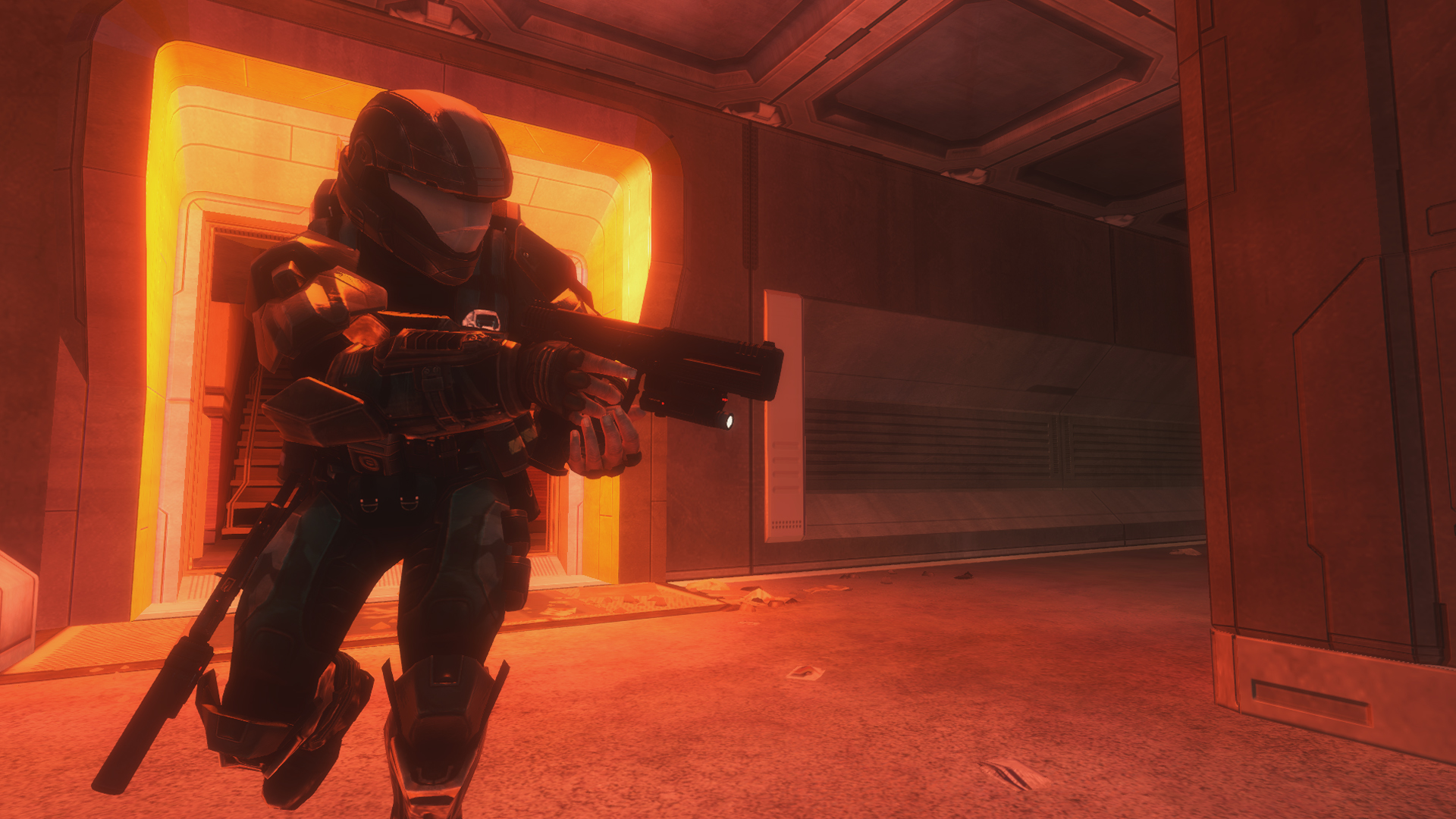 Halo: The Master Chief Collection - going around a corner in 'Coastal Highway' chapter of Halo 3: ODST