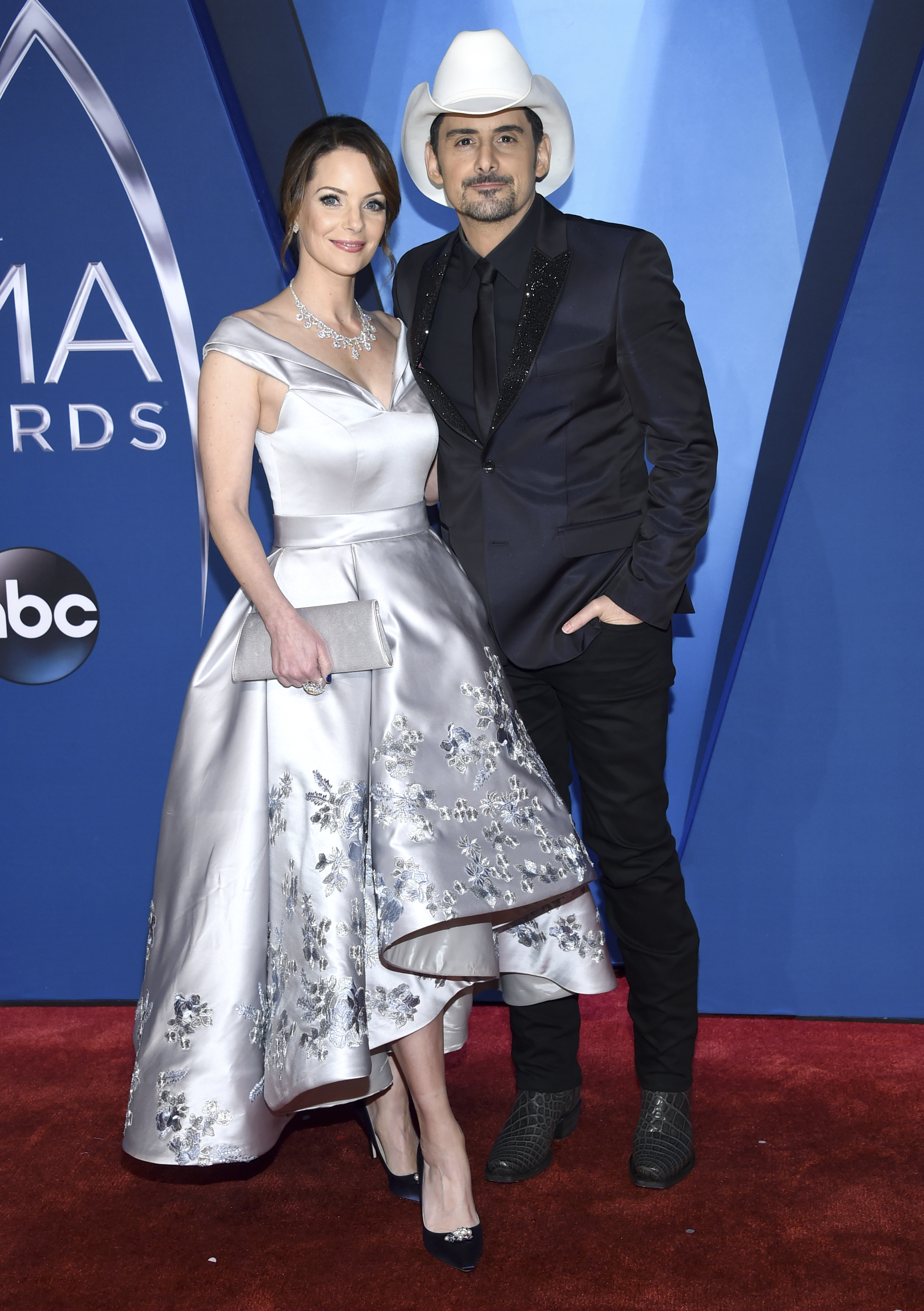 Kimberly Williams-Paisley and Brad Paisley arrive at the 51st annual CMA Awards in 2017 in Nashville, Tennessee.