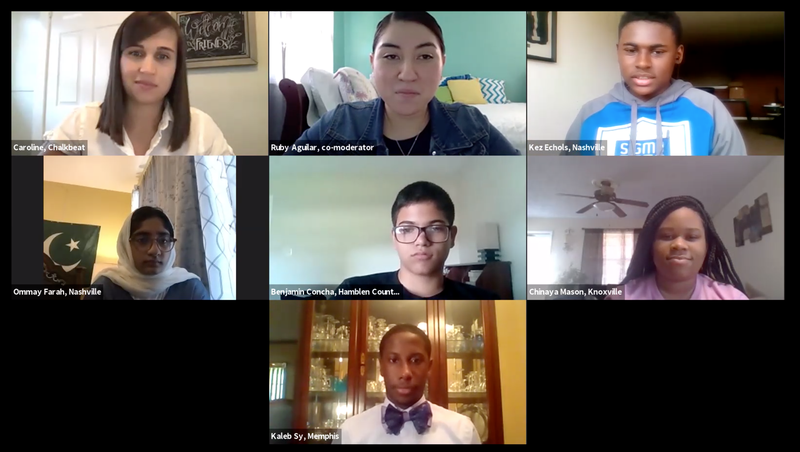 Screenshot of five Tennessee student participating on a Zoom Webinar