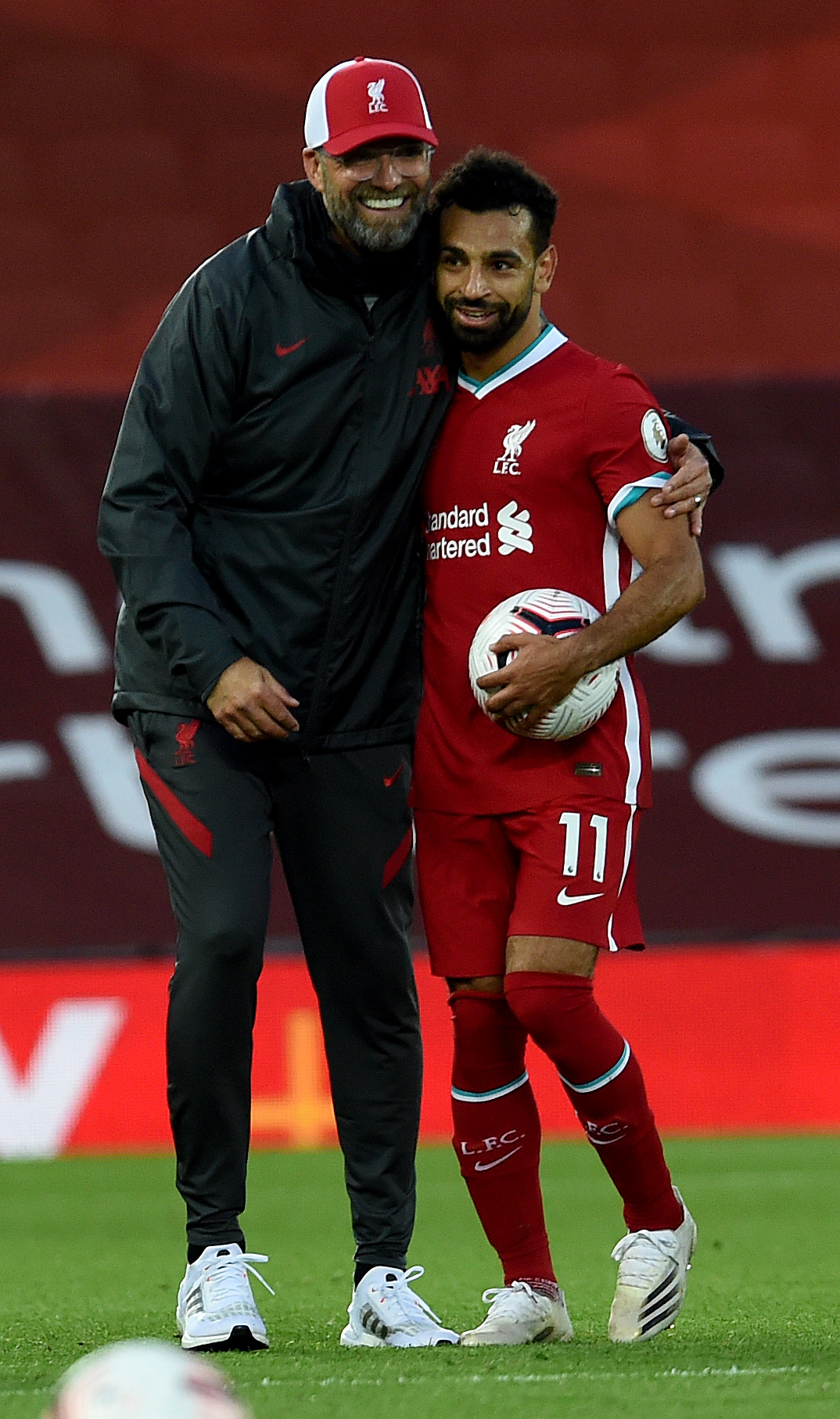 Jurgen Klopp with Mohamed Salah - Liverpool - Premier League