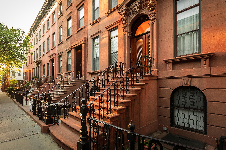 A row of Brownstones in Carroll Gardens, Brooklyn.