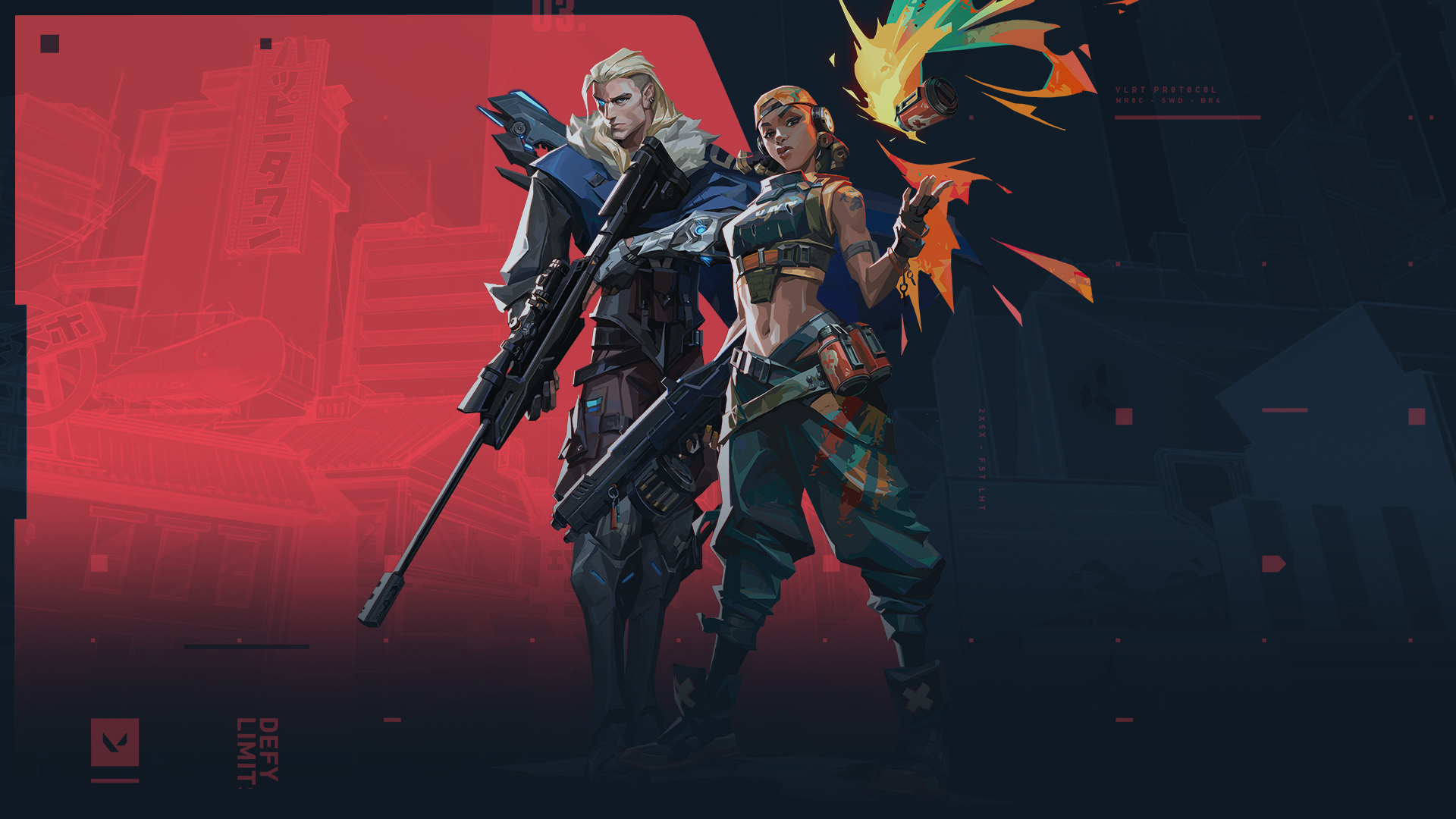 Soza and Raze standing in front of the Valorant logo