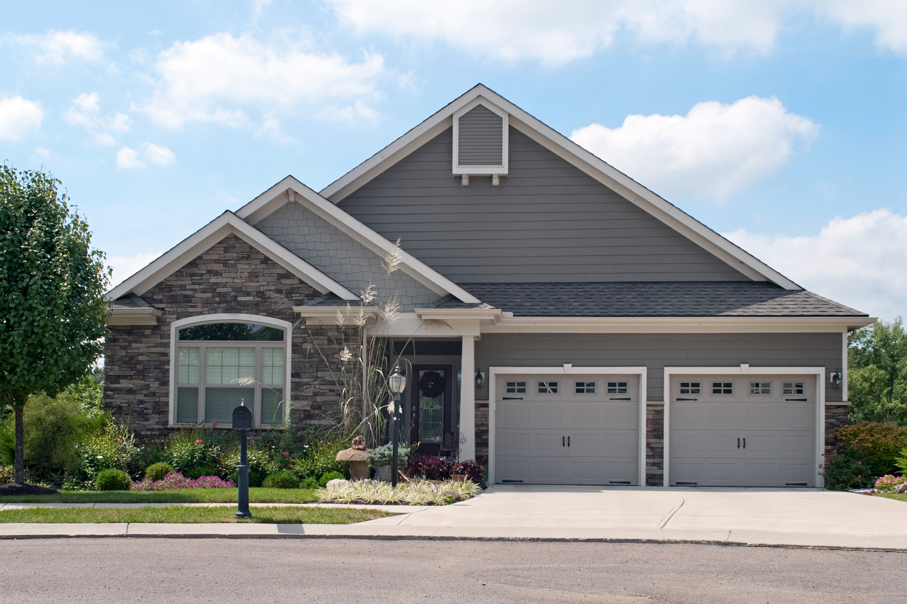 Home with two-car garage.