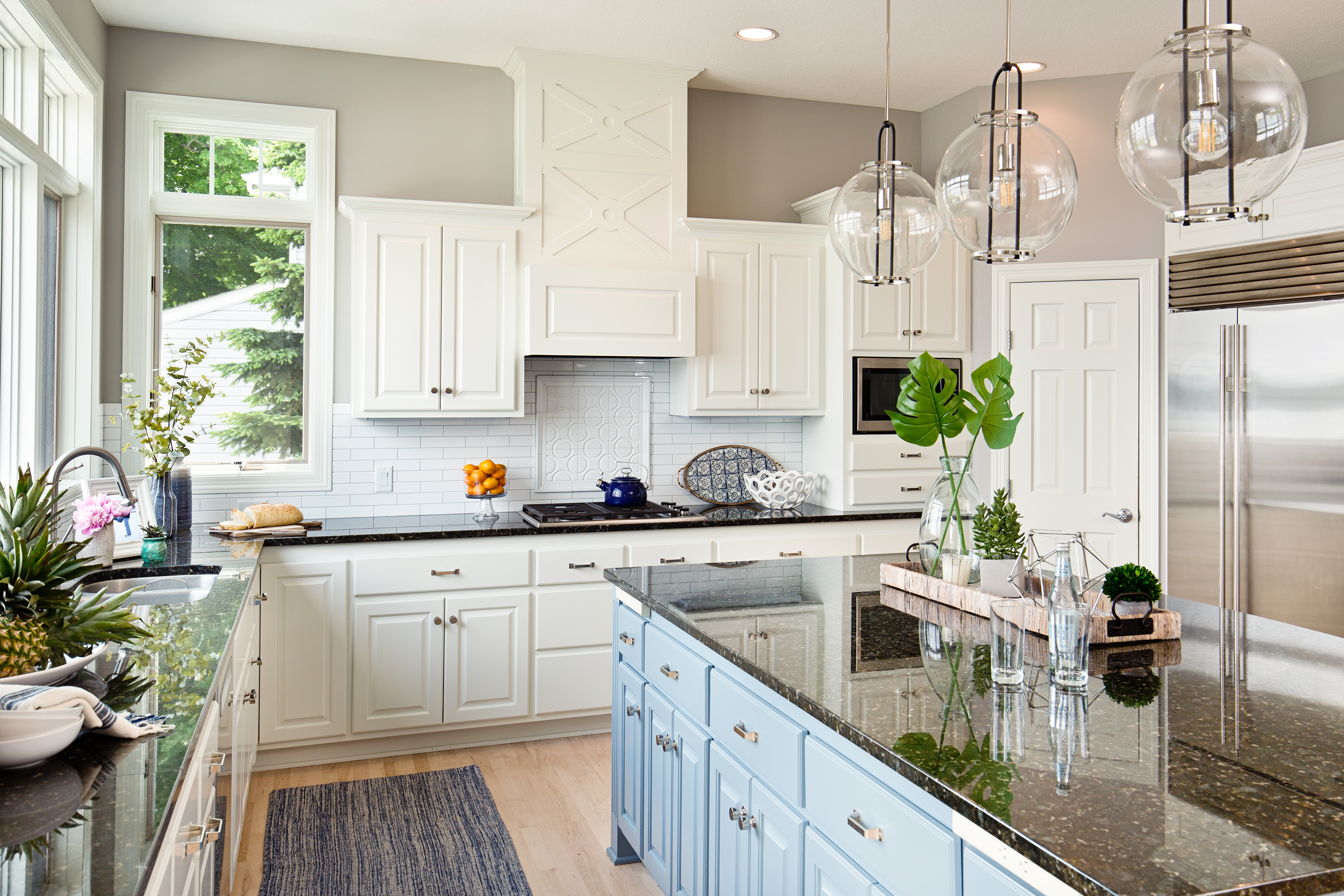 Modern kitchen with bright cabinets.