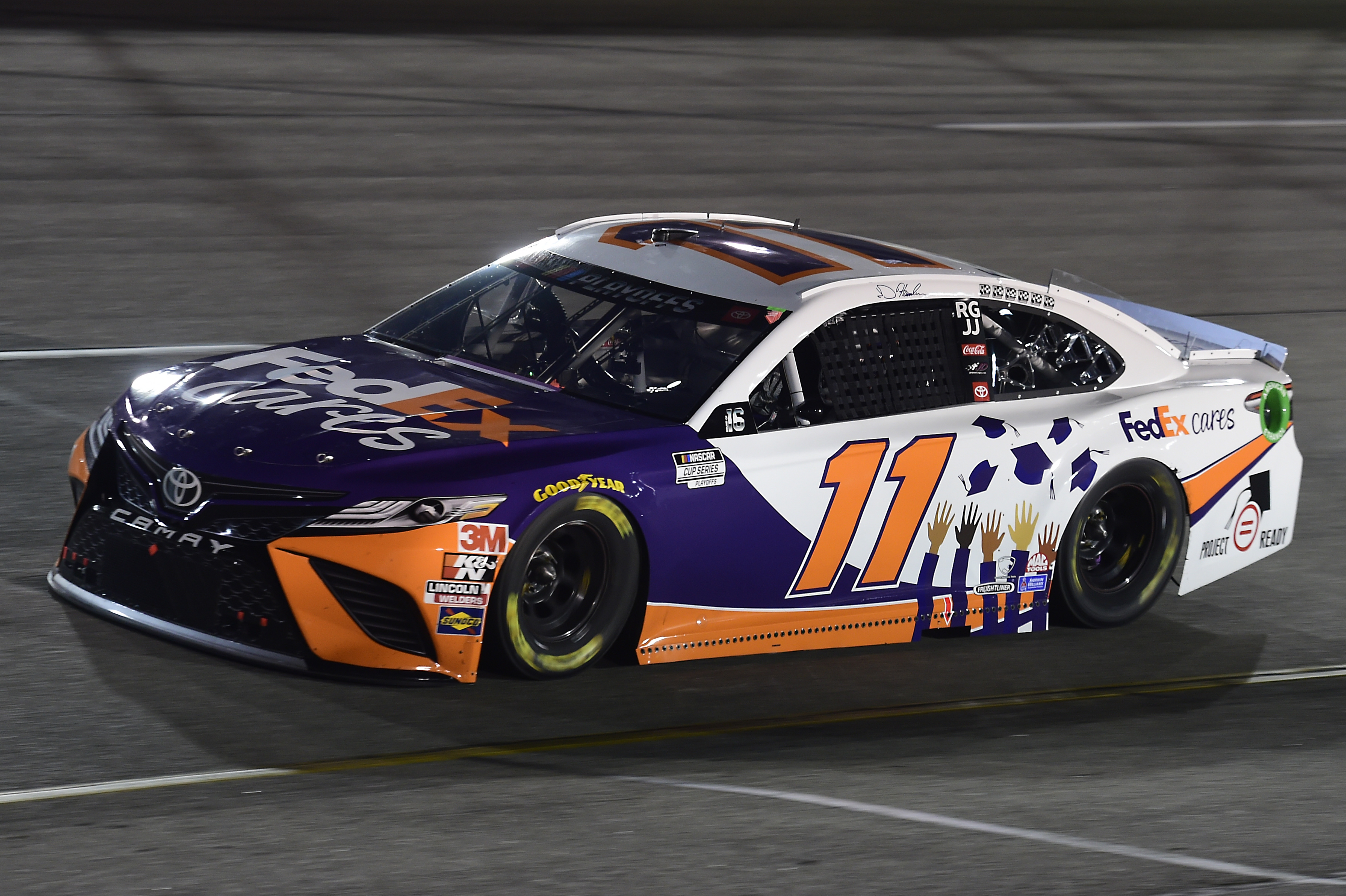 Denny Hamlin, driver of the #11 FedEx Cars Toyota, drives during the NASCAR Cup Series Federated Auto Parts 400 at Richmond Raceway on September 12, 2020 in Richmond, Virginia