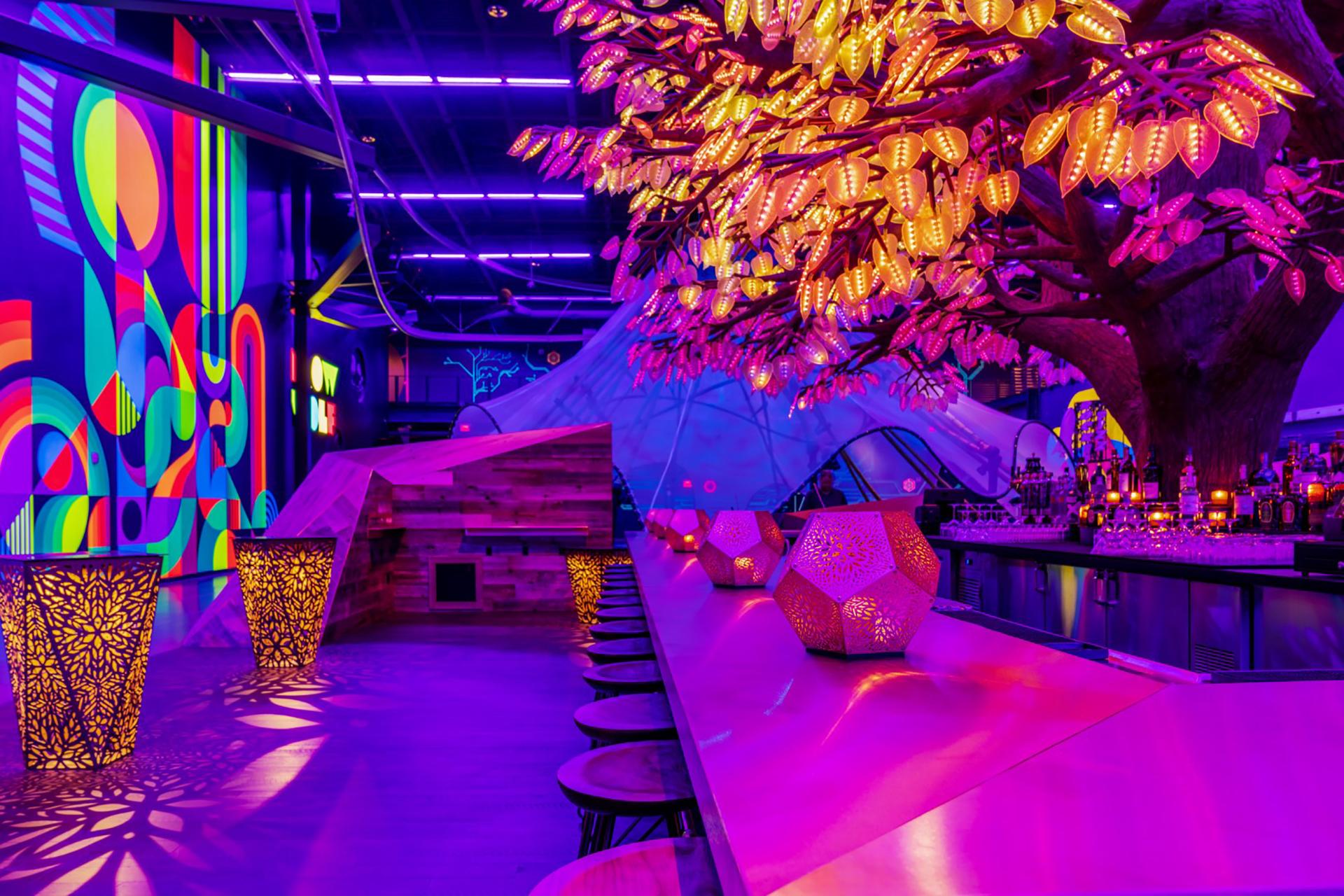 A neon lit bar