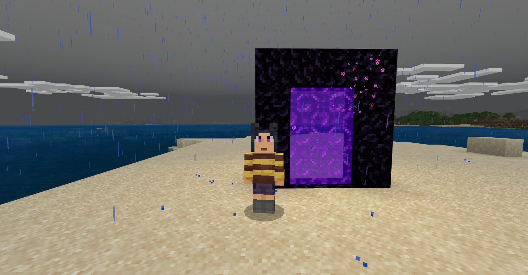 A Minecraft character in a striped sweater stands next to a Nether Portal