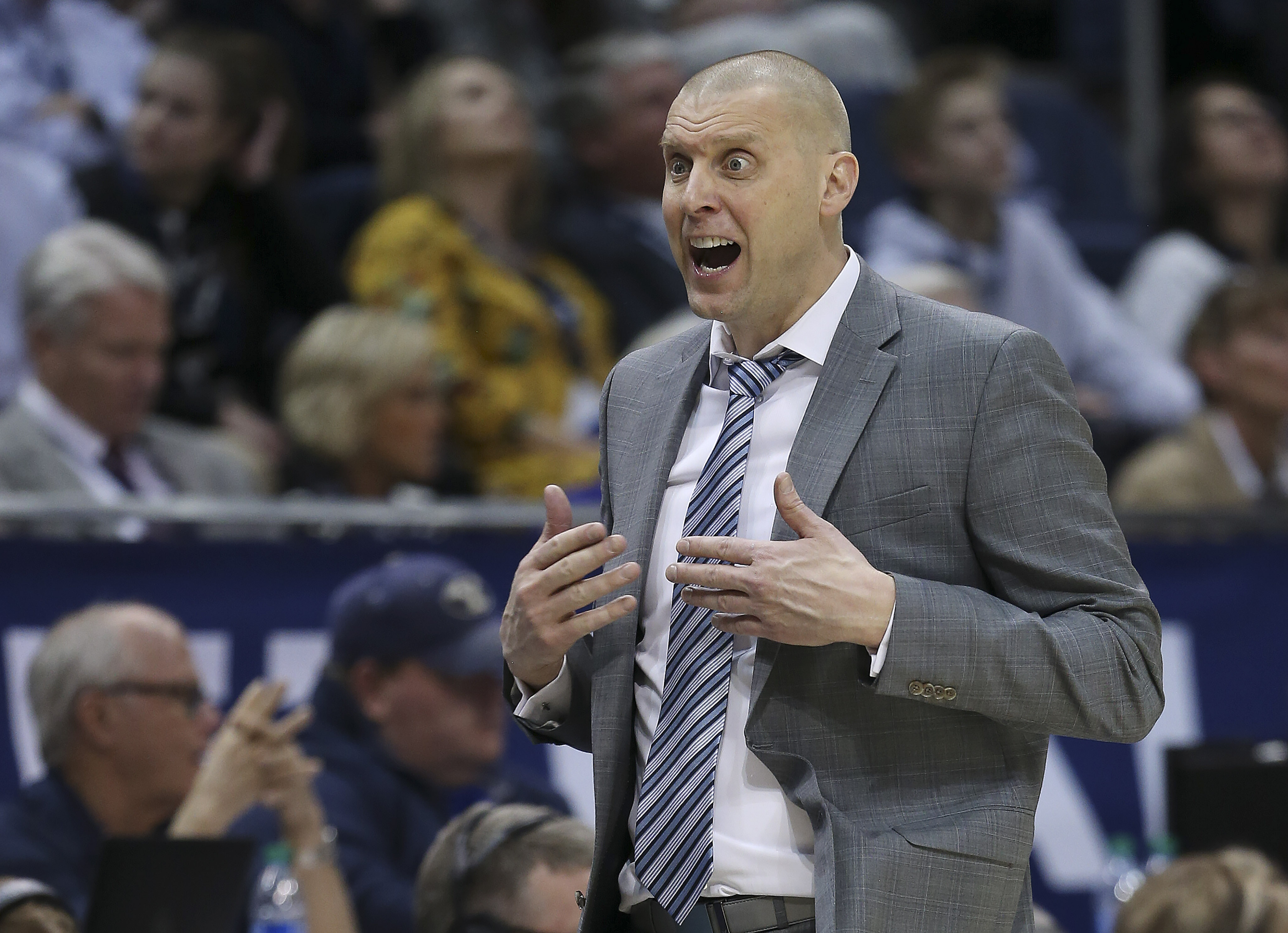 Brigham Young Cougars head coach Mark Pope protests a call in a game against the San Diego Toreros in Provo on Thursday, Jan. 16, 2020. BYU won 93-70.