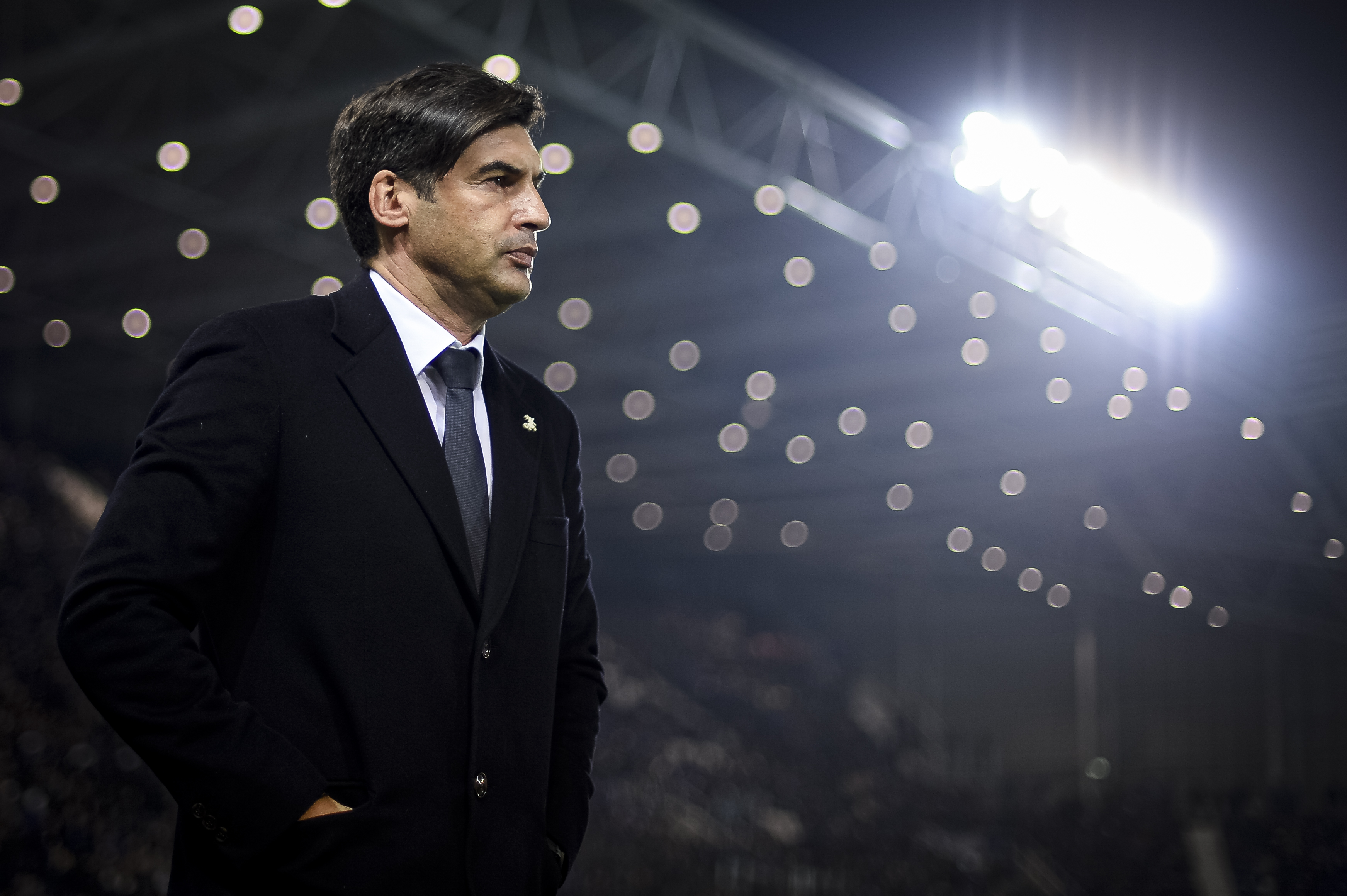 Paulo Fonseca, head coach of AS Roma, looks on prior to the...