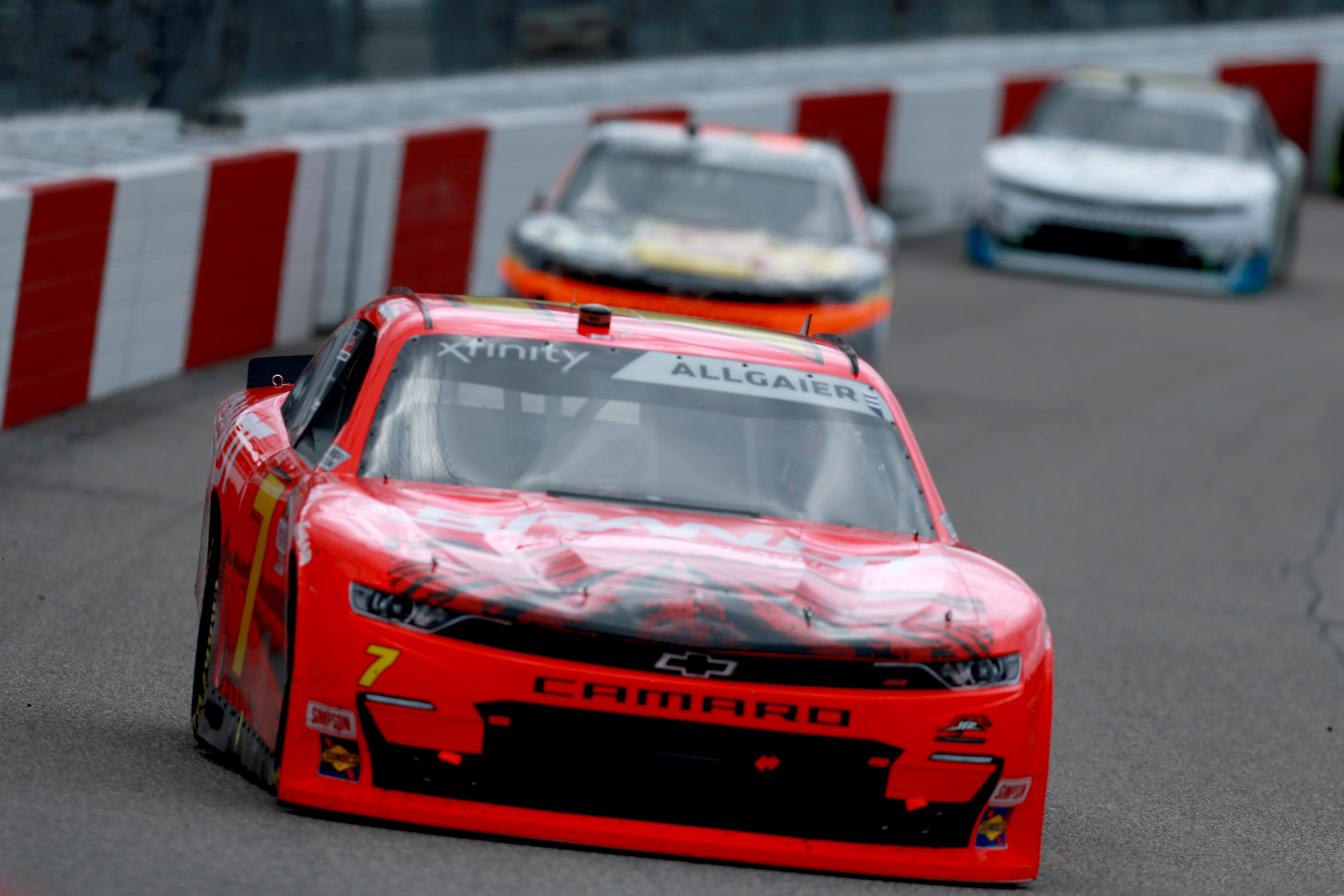 Justin Allgaier, driver of the #7 BRANDT Chevrolet, leads the field during the NASCAR Xfinity Series Virginia is for Racing Lovers 250 at Richmond Raceway on September 12, 2020 in