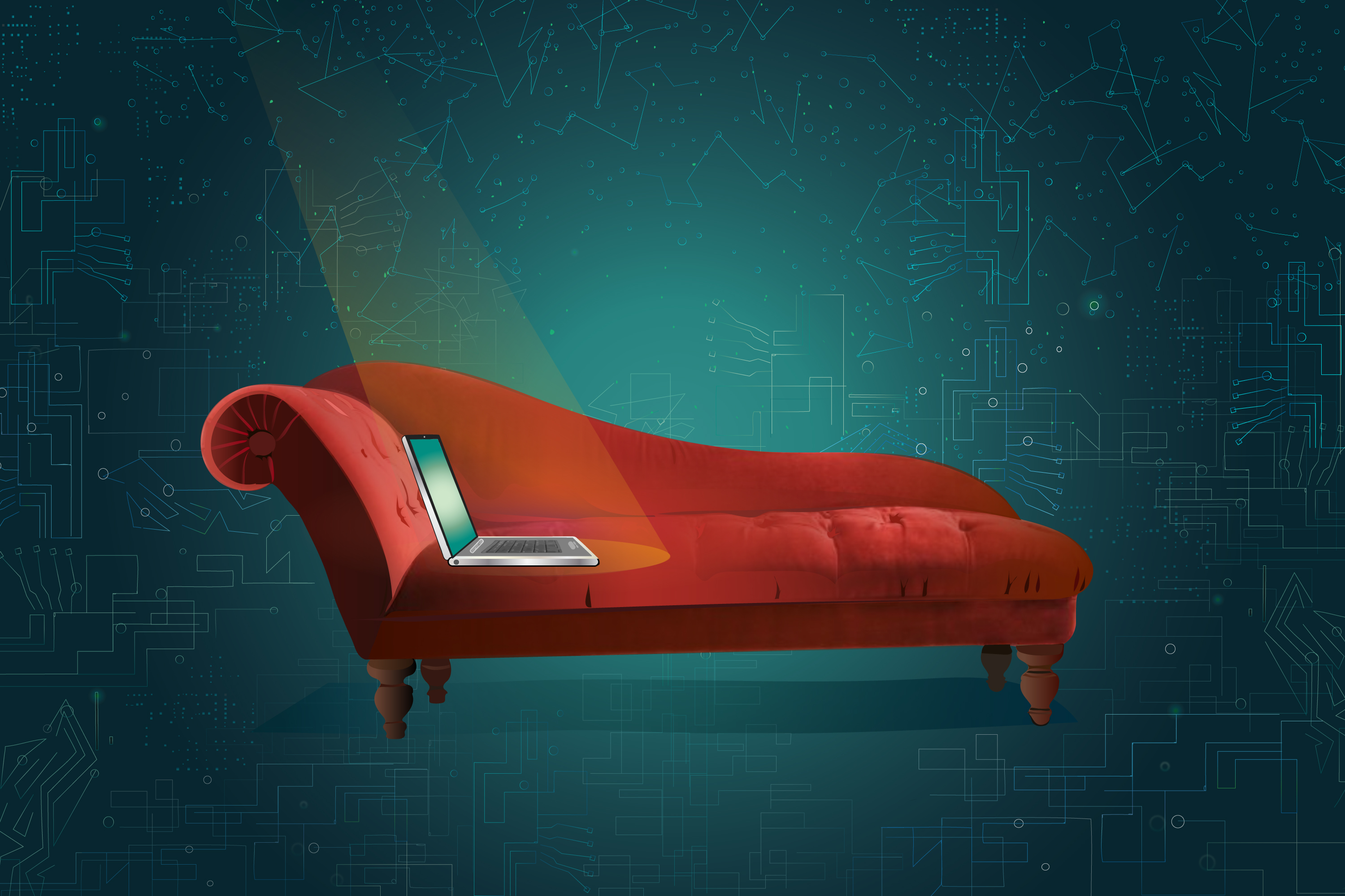 Illustration of a laptop computer on a classic psychotherapy couch
