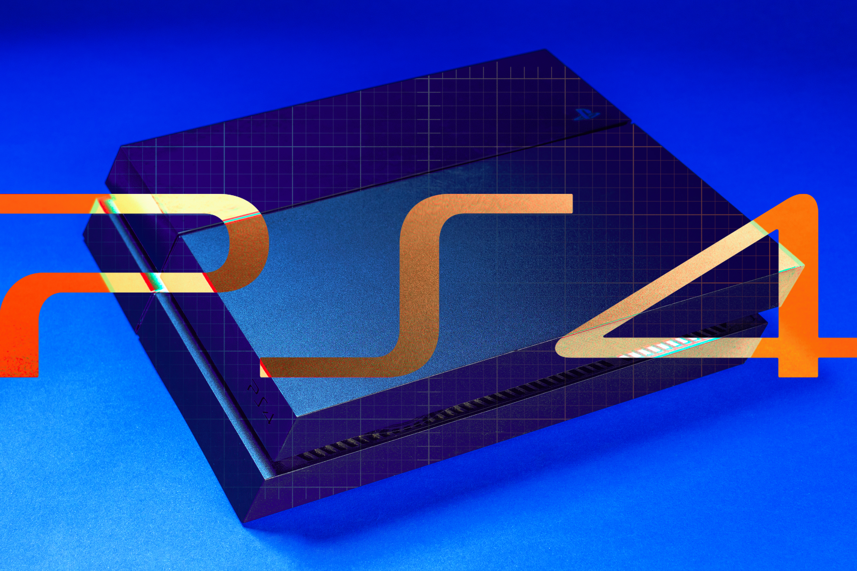 """Graphic illustration of PS4 console on blue background with """"PS4"""" in bright orange/brown letters in the foreground."""