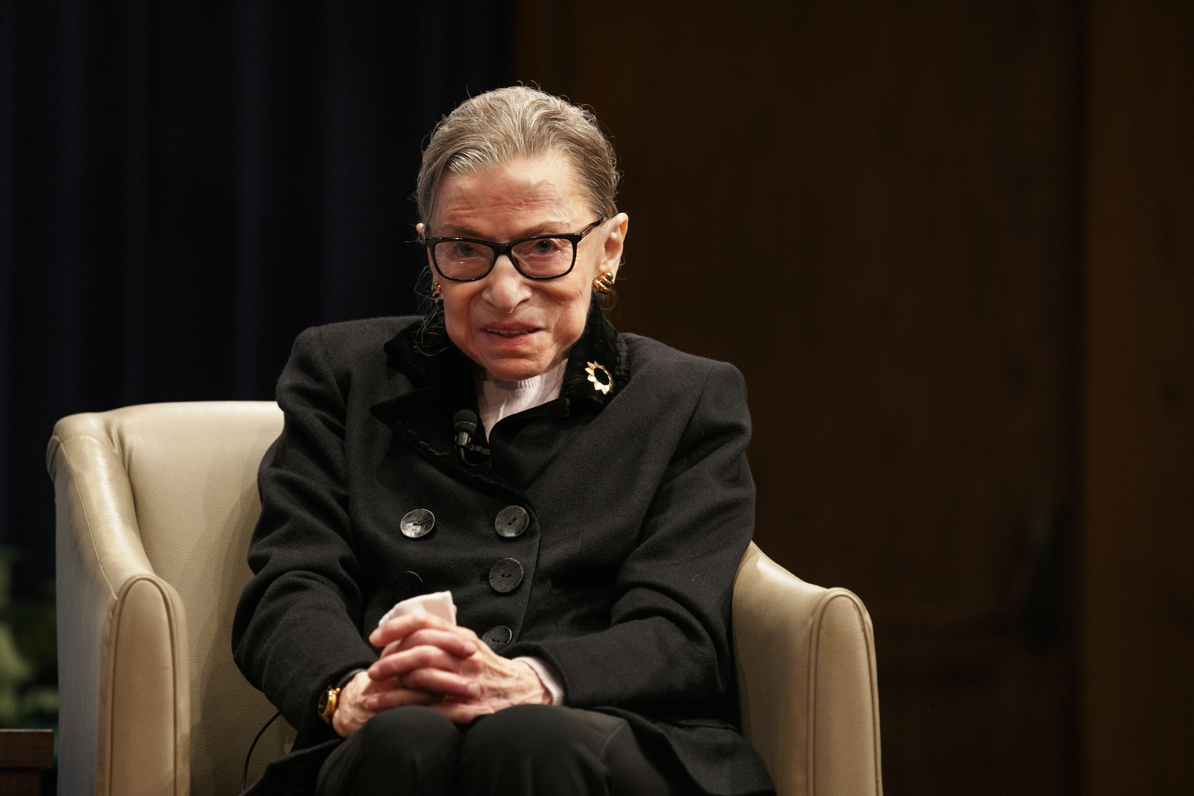 In this Oct. 30, 2019, file photo, Supreme Court Justice Ruth Bader Ginsburg attends Georgetown Law's second annual Ruth Bader Ginsburg Lecture in Washington. A tweet Monday, Aug. 31, 2020, from a new bride brought the first sighting of ailing Supreme Court Justice Ruth Bader Ginsburg in months — officiating at an outdoor wedding Sunday.