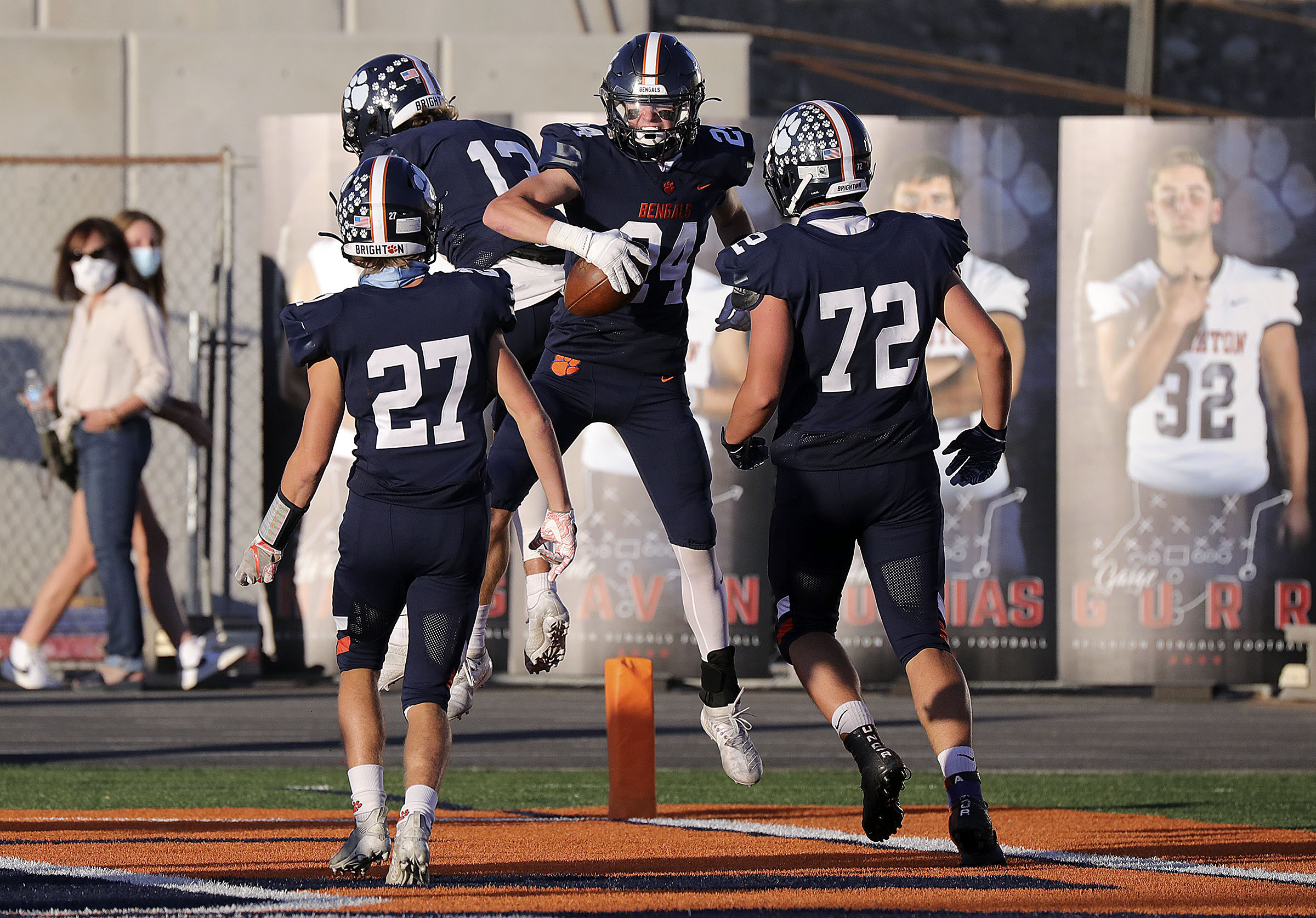The Brighton Bengals celebrate Collin Edwards' touchdown during a football game against Bountiful at Brighton High School in Cottonwood Heights on Friday, Sept. 4, 2020.