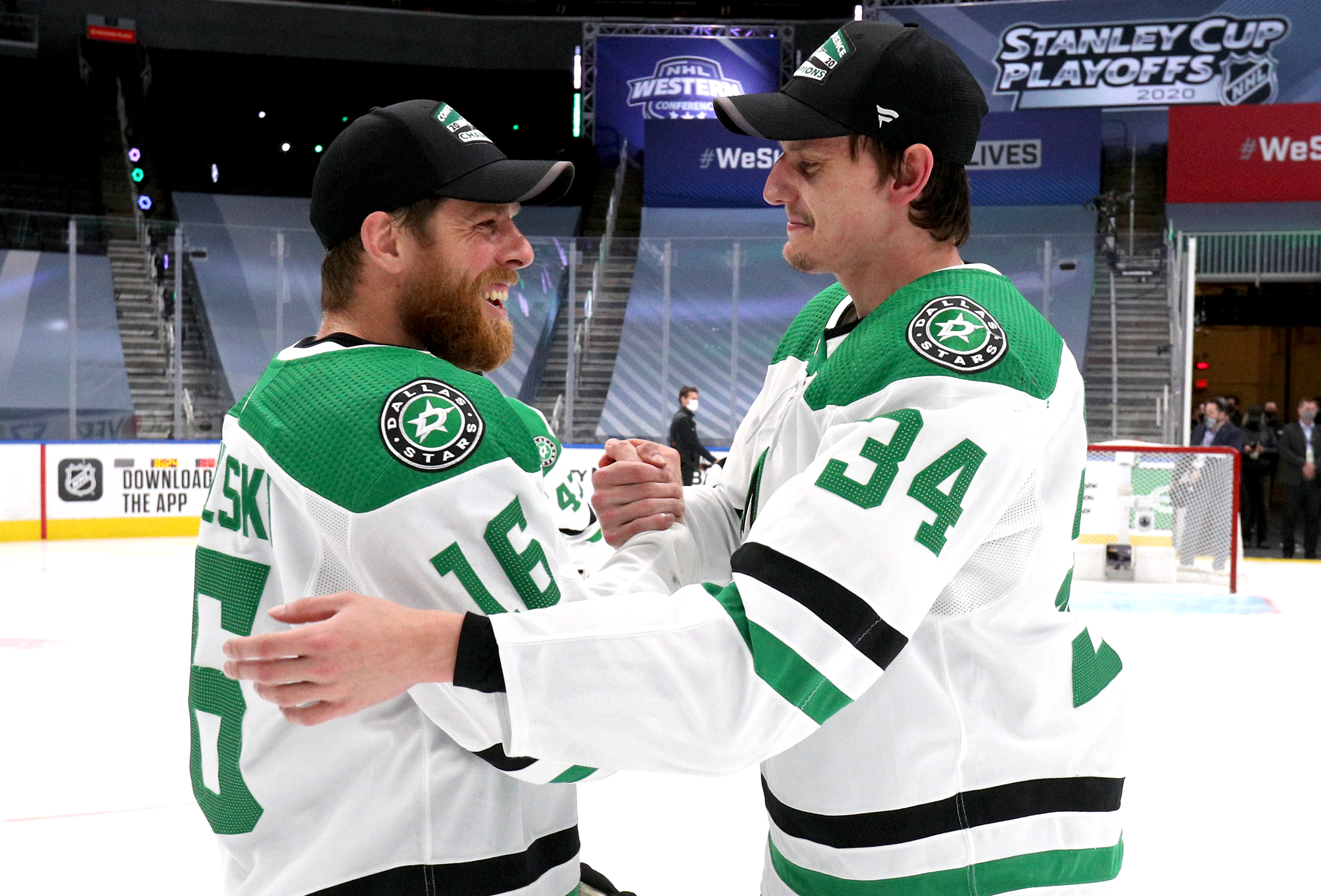 Denis Gurianov #34 and Joe Pavelski #16 of the Dallas Stars shake hands after the Stars 3-2 overtime win in Game 5 of the Western Conference Final of the 2020 NHL Stanley Cup Playoffs between the Dallas Stars and the Vegas Golden Knights at Rogers Place on September 14, 2020 in Edmonton, Alberta.