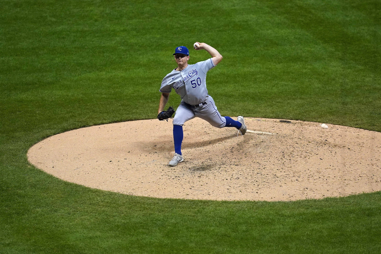 Kris Bubic throwing a pitch