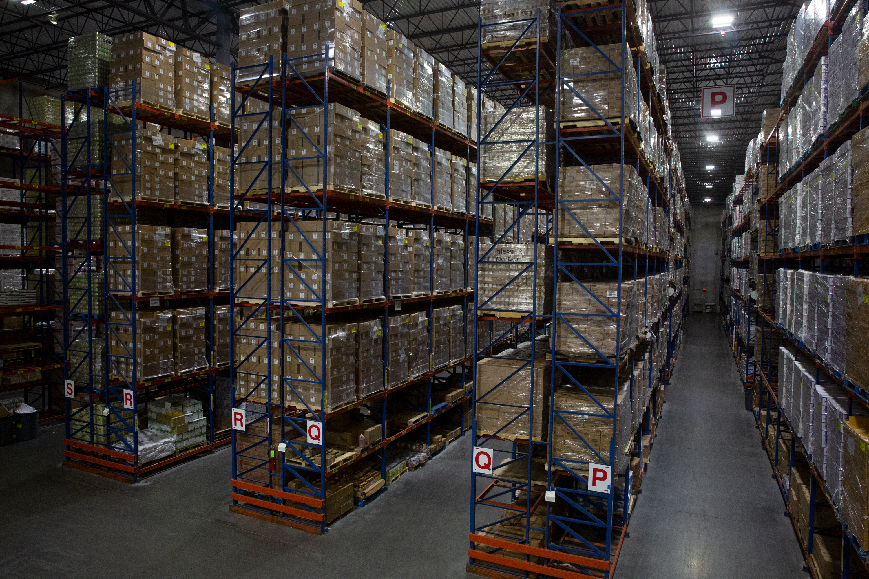 The city has stored 150,000 cases of food in a Driscoll warehouse in New Jersey, Sept. 18, 2020.