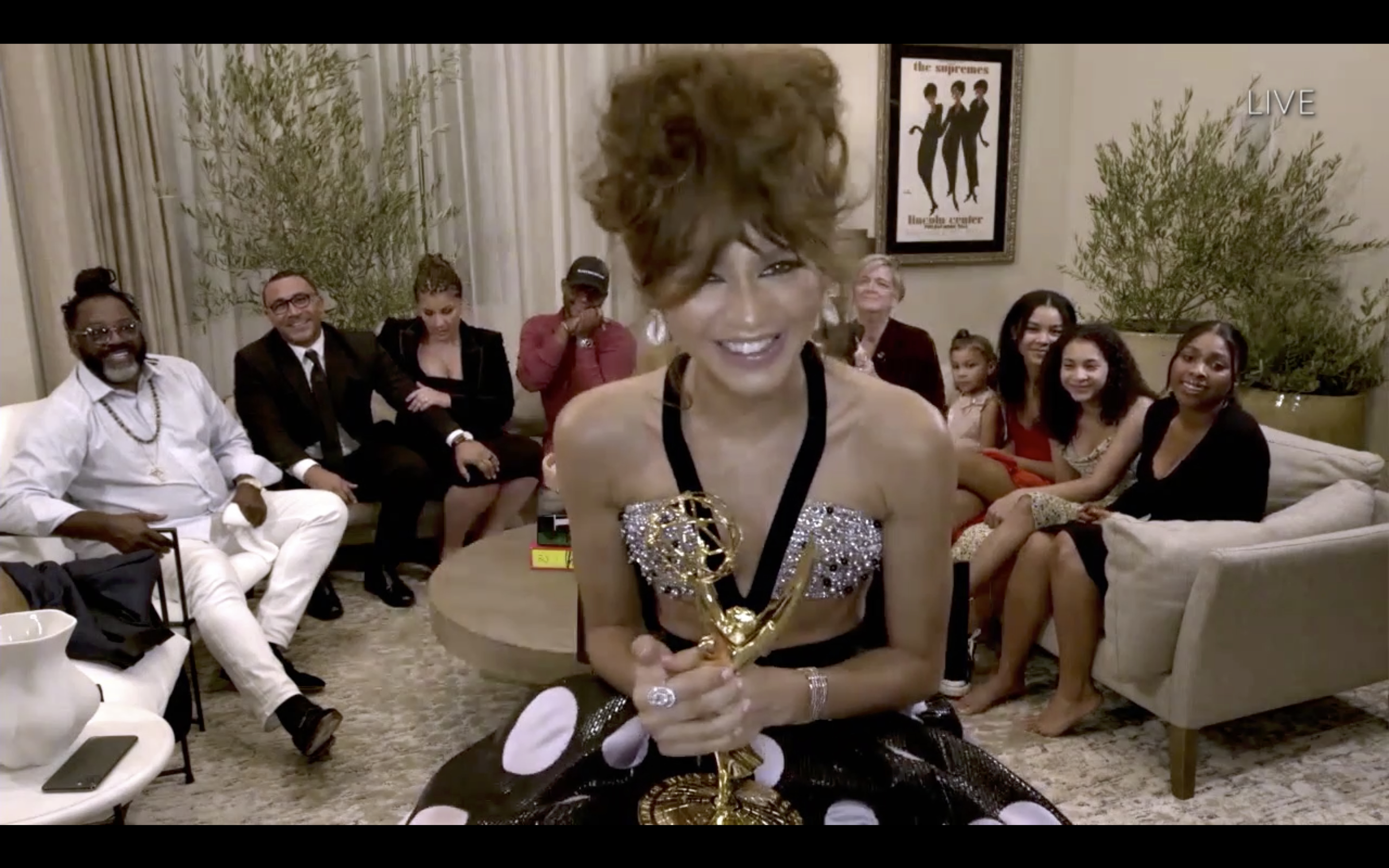 Zendaya accepts the 2020 Emmy Award for Outstanding Lead Actress in a Drama Series.