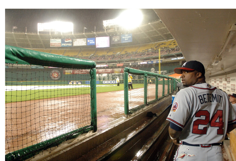 Atlanta Braves third baseman Wilson Betemit looks out of the