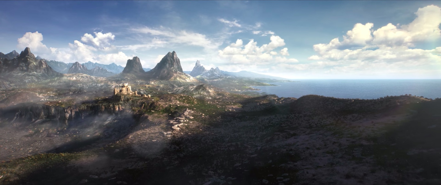 A mountain range next to a body of water in a still from The Elder Scrolls 6 teaser trailer