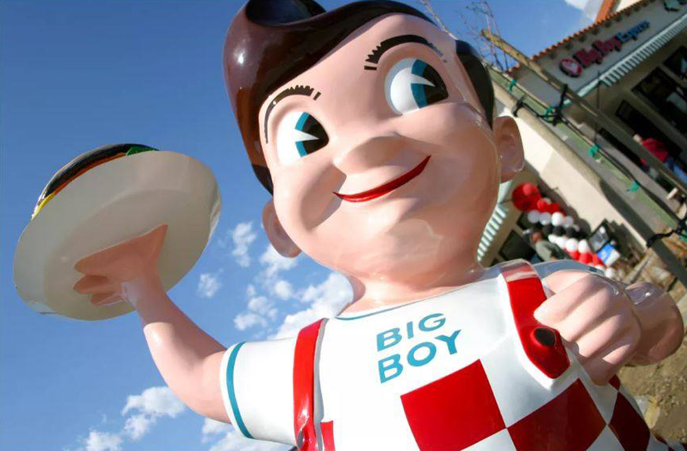 One of the famous Bob's Big Boy mascot statues, outside a California coffee shop.