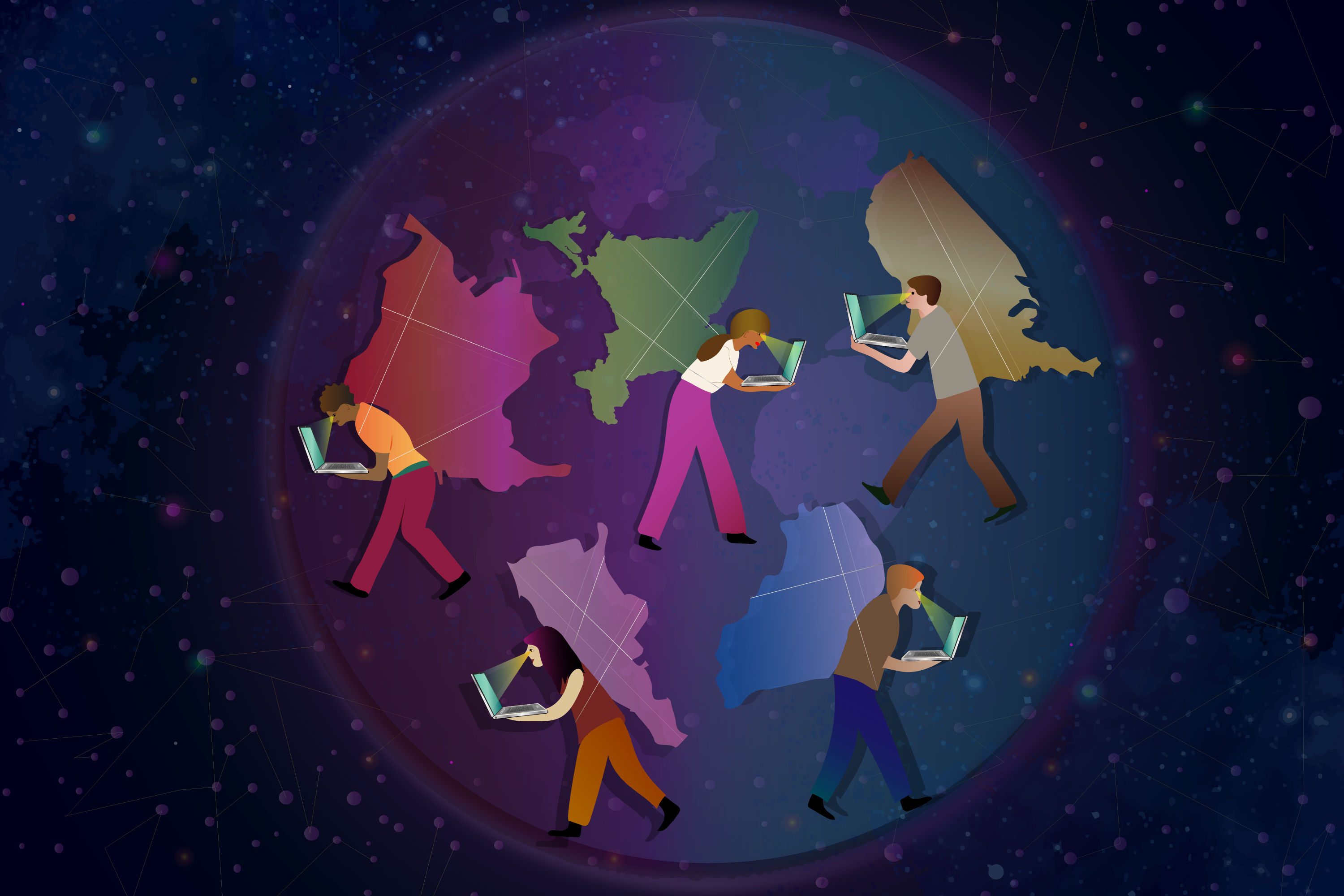 Illustration of people working on laptops while carrying shapes of countries on their backs.