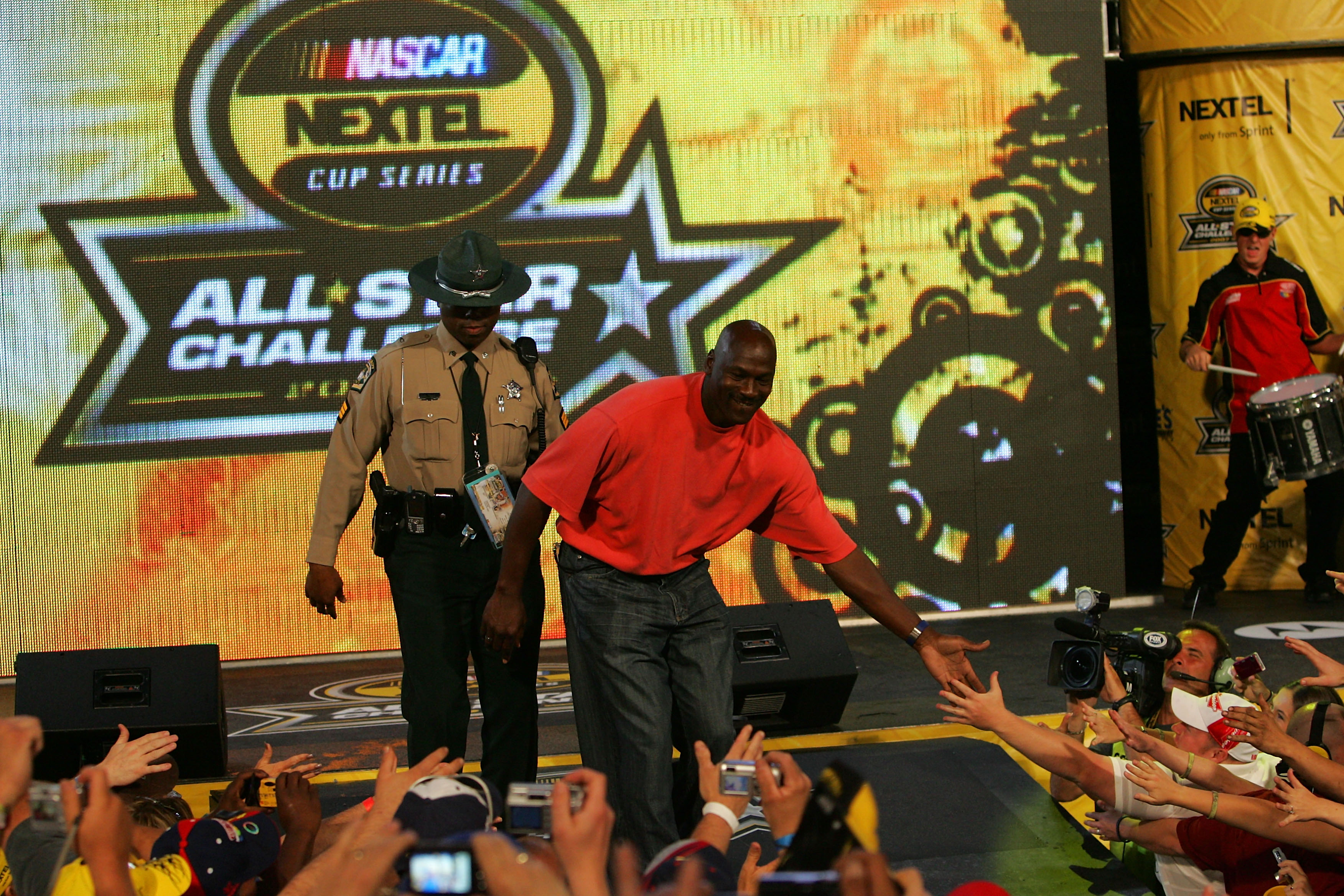 Former NBA player Michael Jordan is introduced, prior to the NASCAR Nextel All-Star Challenge on May 19, 2007 at Lowe's Motor Speedway in Concord, North Carolina.