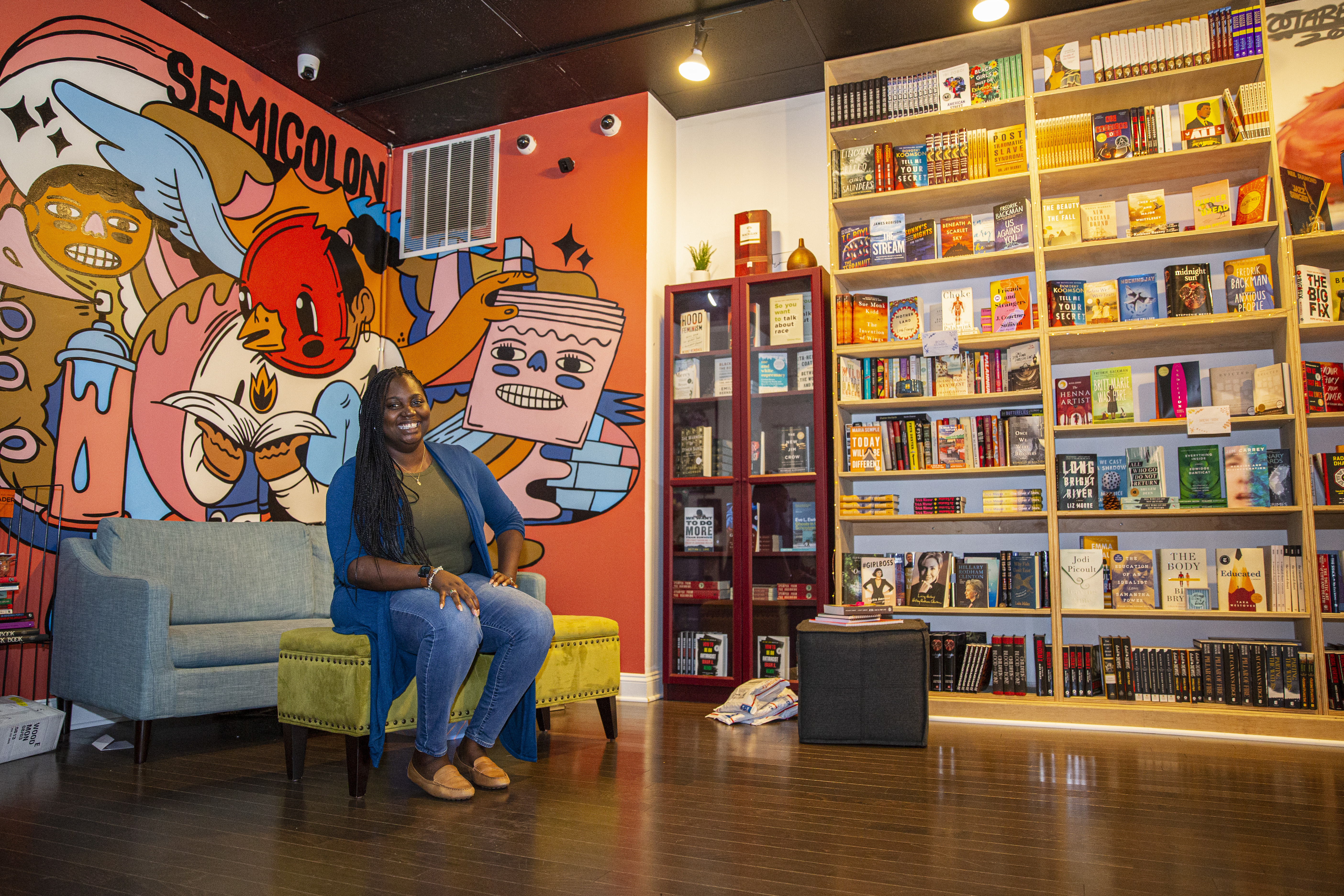 Semicolon Bookstore owner Danielle Mullen poses for a portrait inside her bookstore at 515 N Hasted St in Fulton River District Monday, Sept. 21, 2020. | Anthony Vazquez/Sun-Times