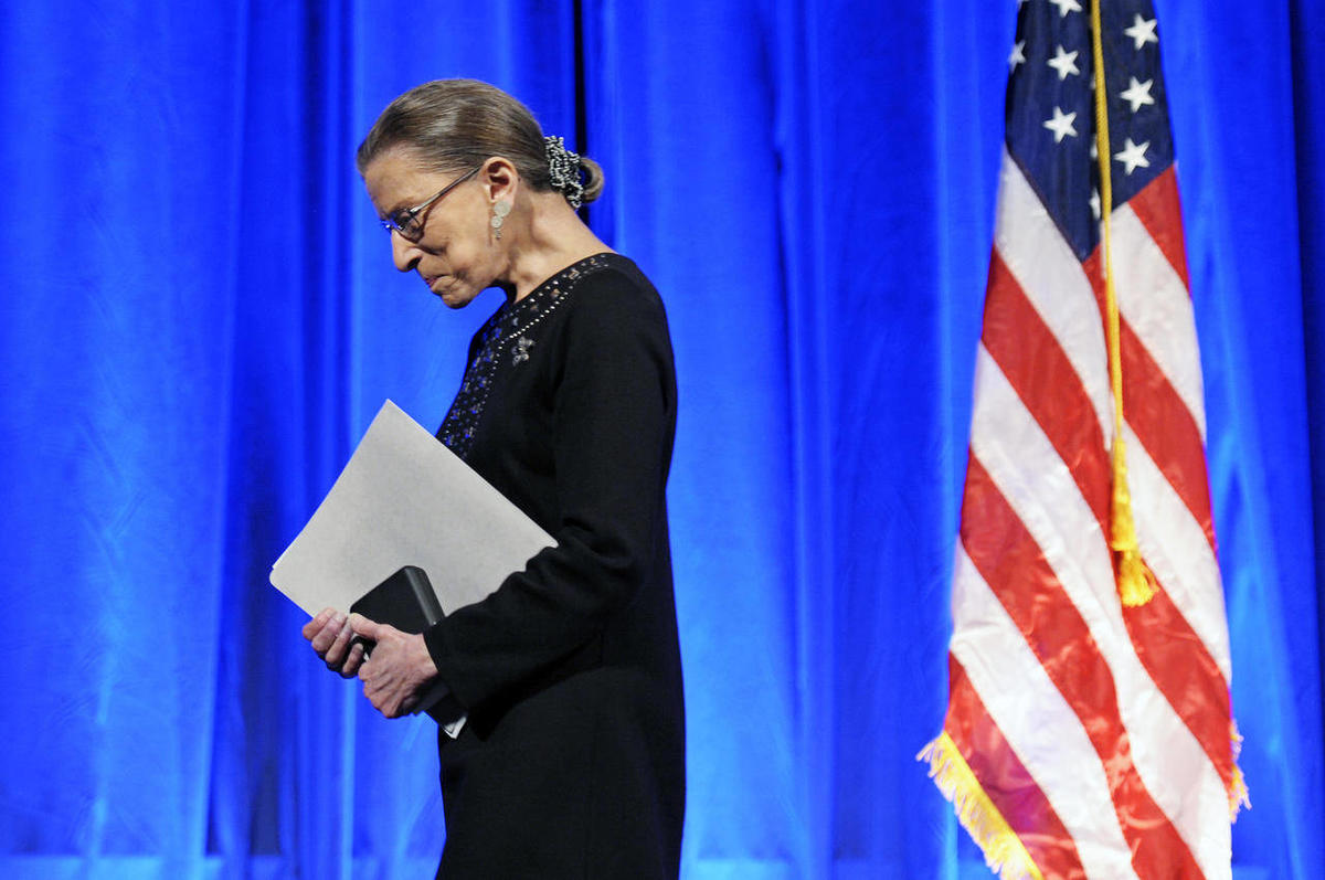 Supreme Court Associate Justice Ruth Bader Ginsburg walks off stage after receiving a Jefferson Award for Public Service in Washington, Tuesday, June 21, 2011.
