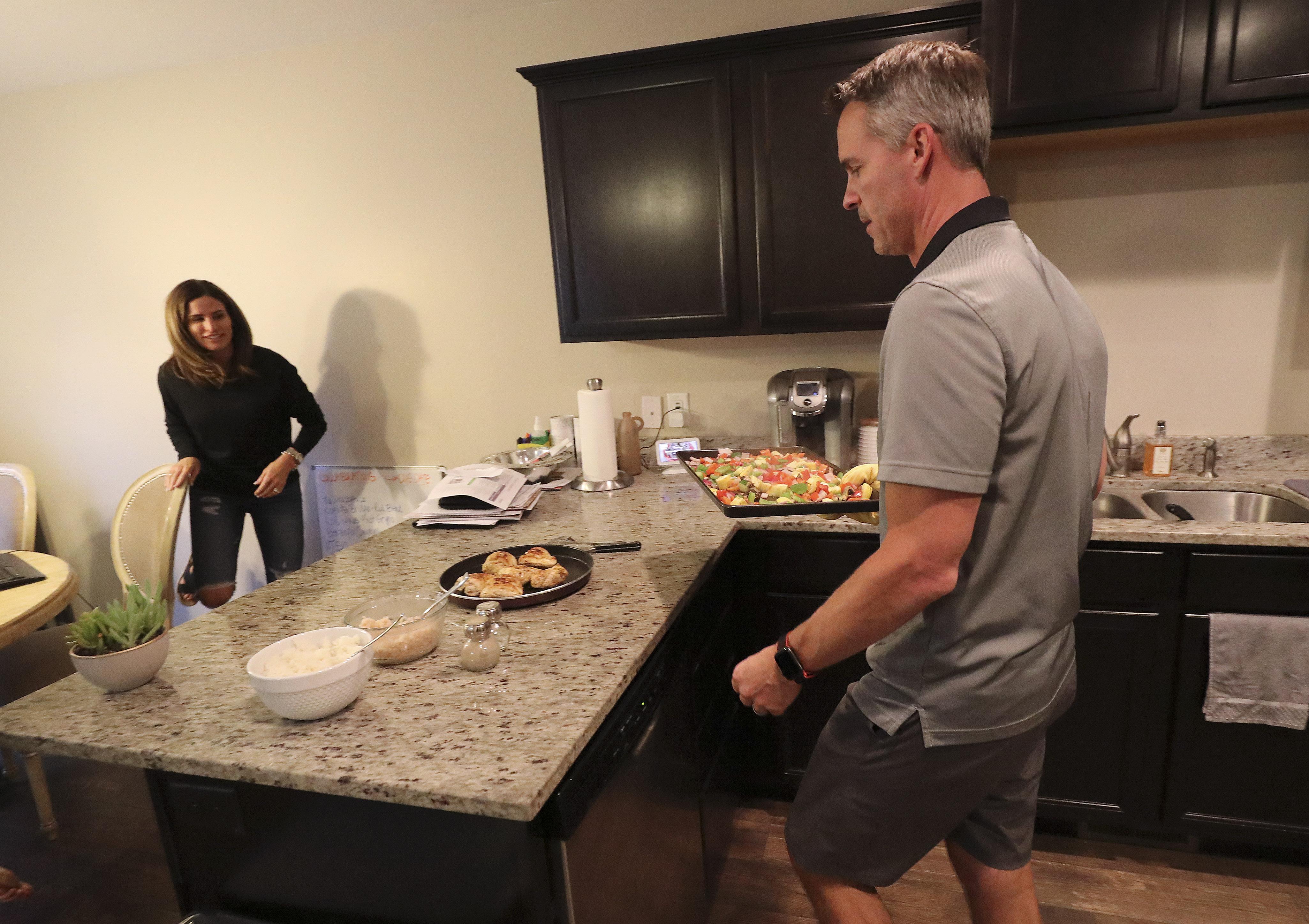 Thayne and Brooke Martin prepare dinner for their family in Draper on Thursday, Sept. 17, 2020.