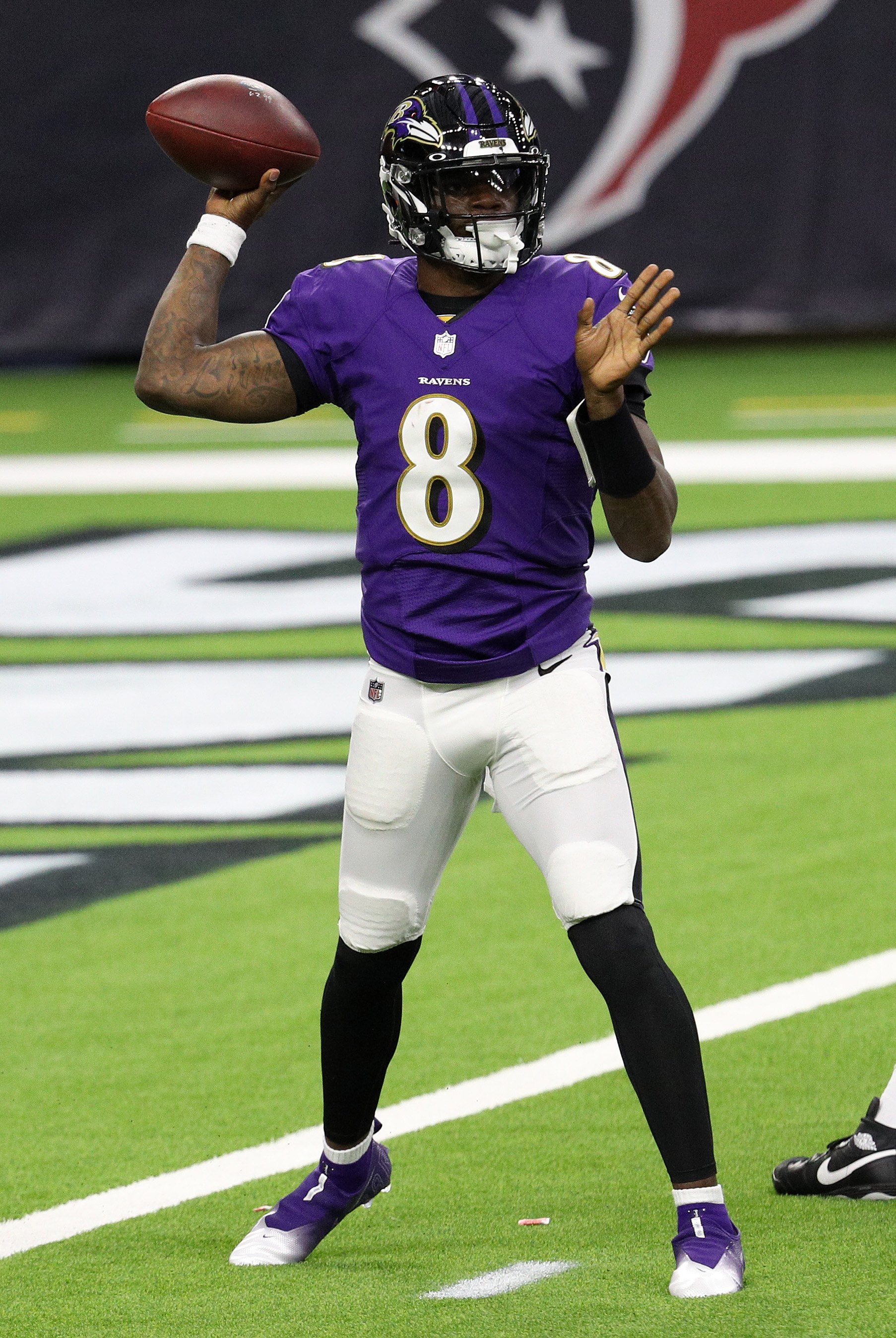 Lamar Jackson of the Baltimore Ravens passes against the Houston Texans during the first half at NRG Stadium on September 20, 2020 in Houston, Texas.