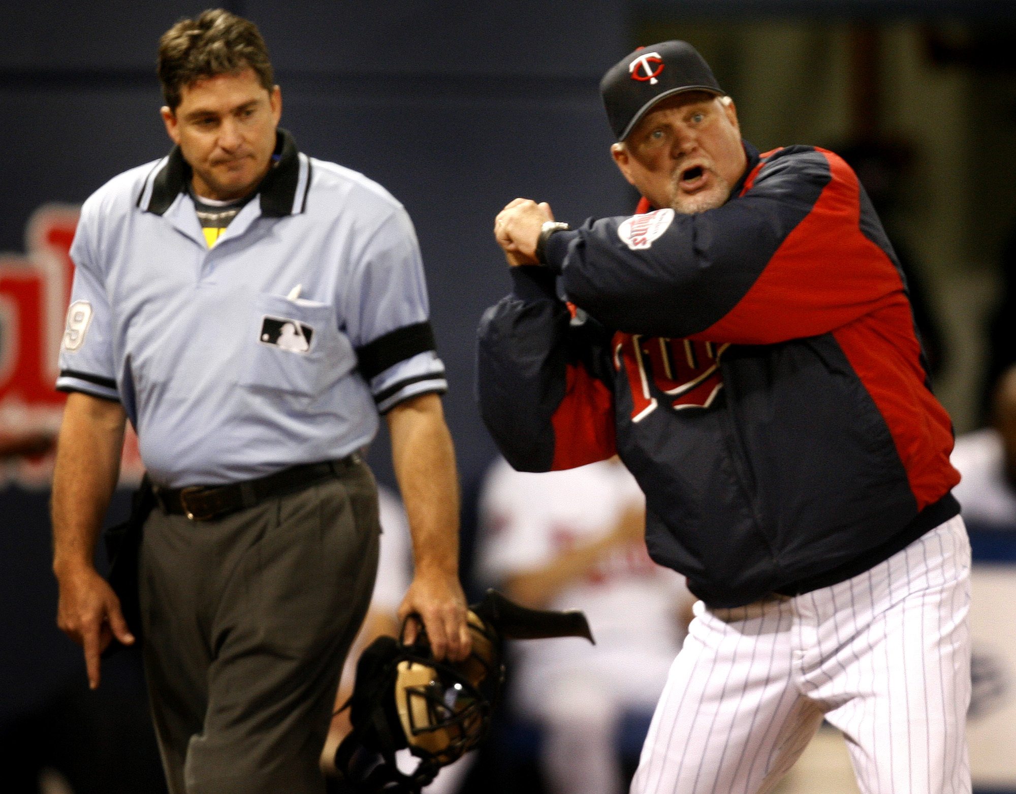 JERRY HOLT ¥jgholt@startribune.com Twins vs Baltimore----Minnesota Twins manger Ron Gardenhire was kicked out of the game for auguring a third a strike against Michael Cuddyer by home plate umpire Ed Rapuano in the 4th inning.