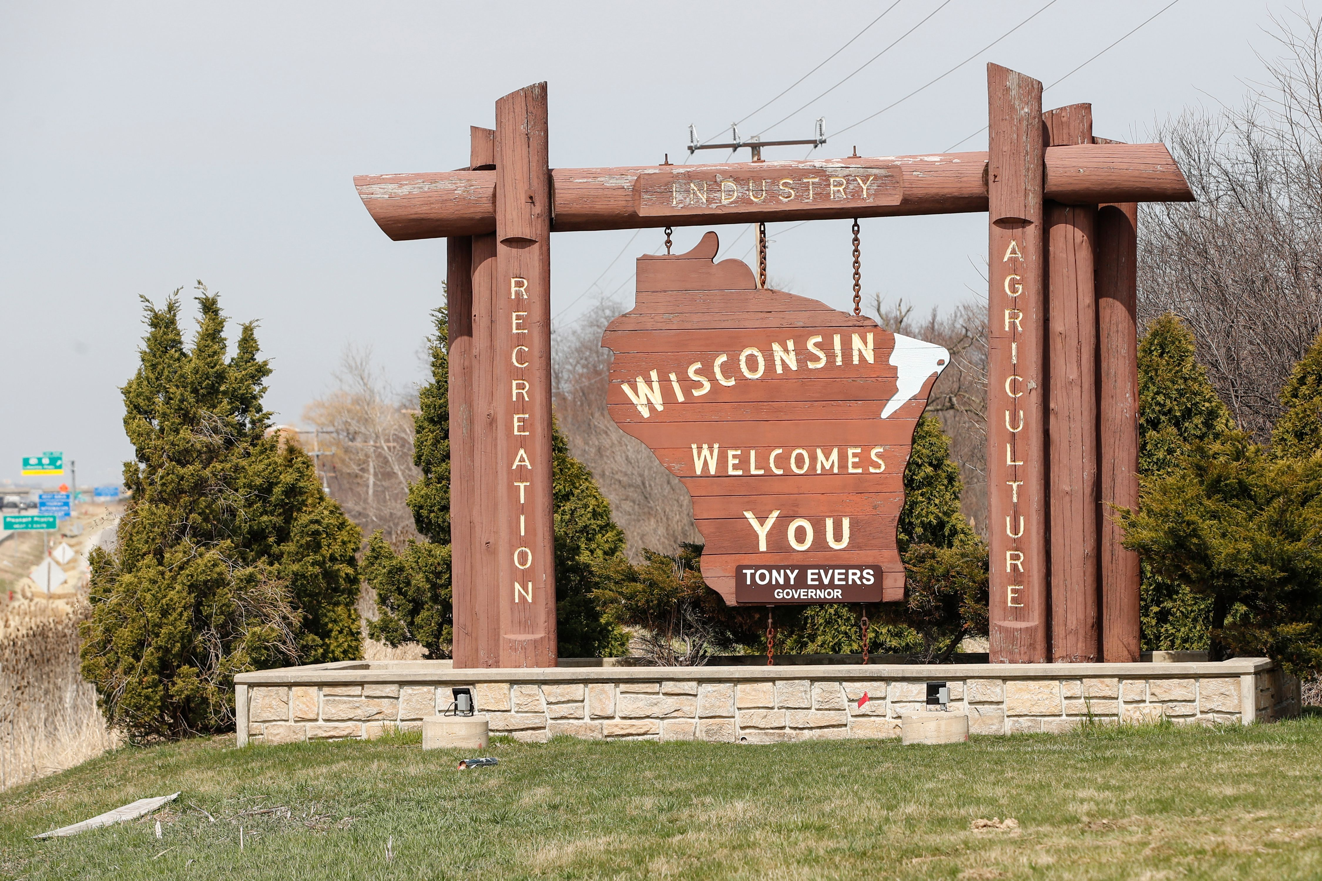 The Wisconsin Welcome Sign is seen in Pleasant Prairie, Wisconsin, on April 6, 2020.