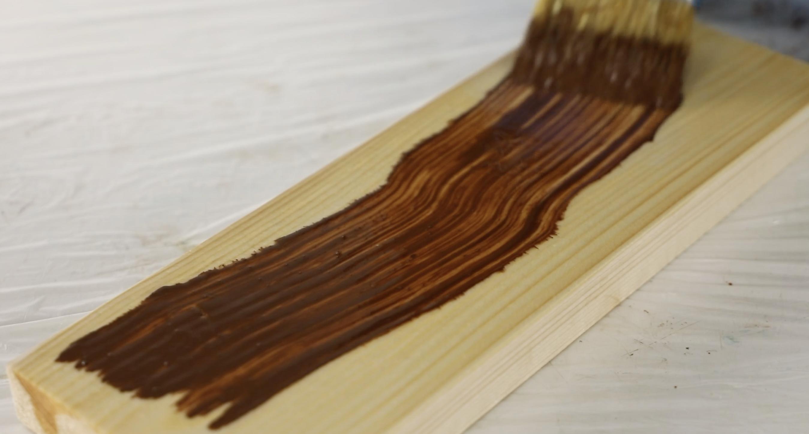 Applying wood stain