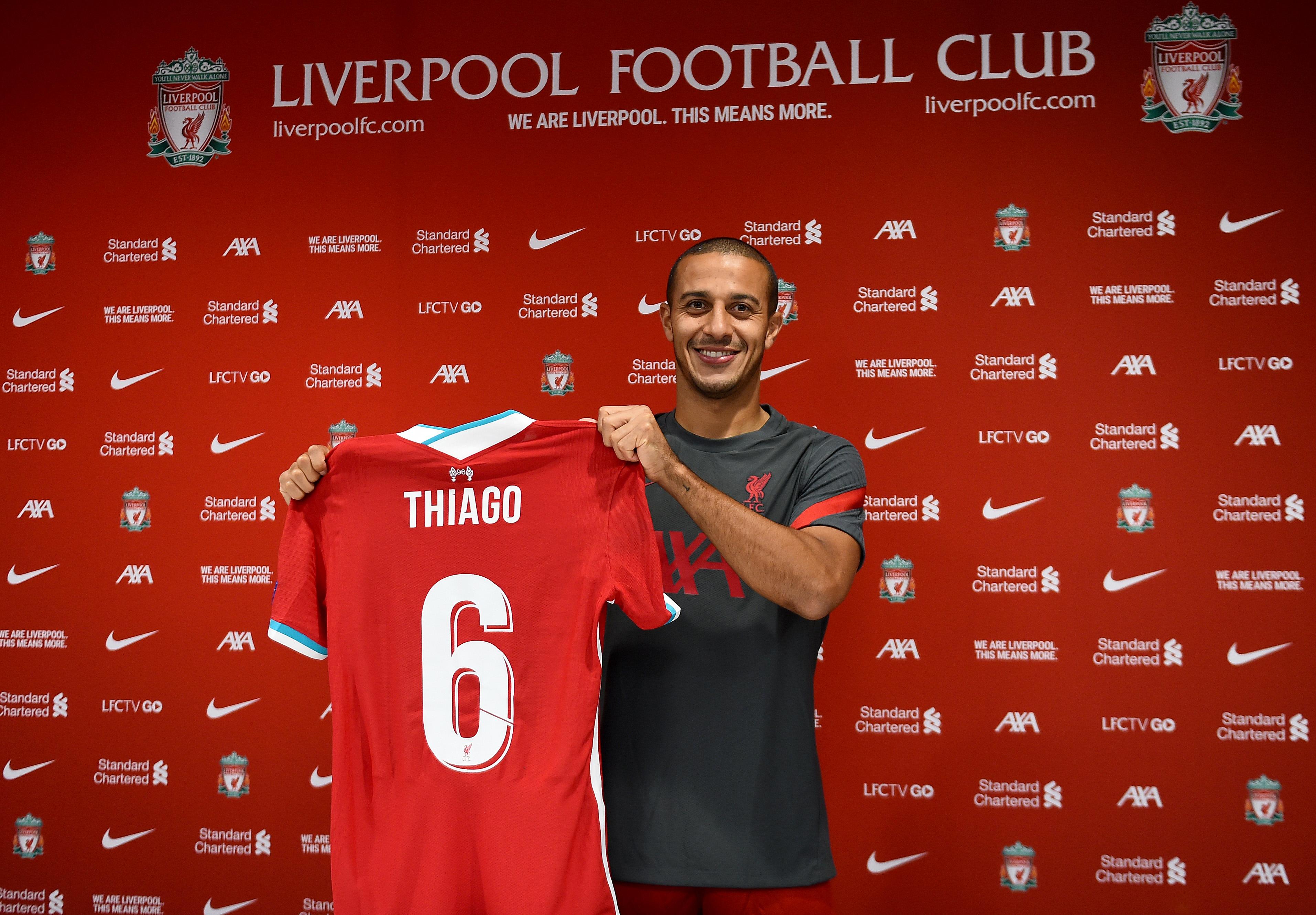 Liverpool Unveils New Signing Thiago Alcantara - Premier League