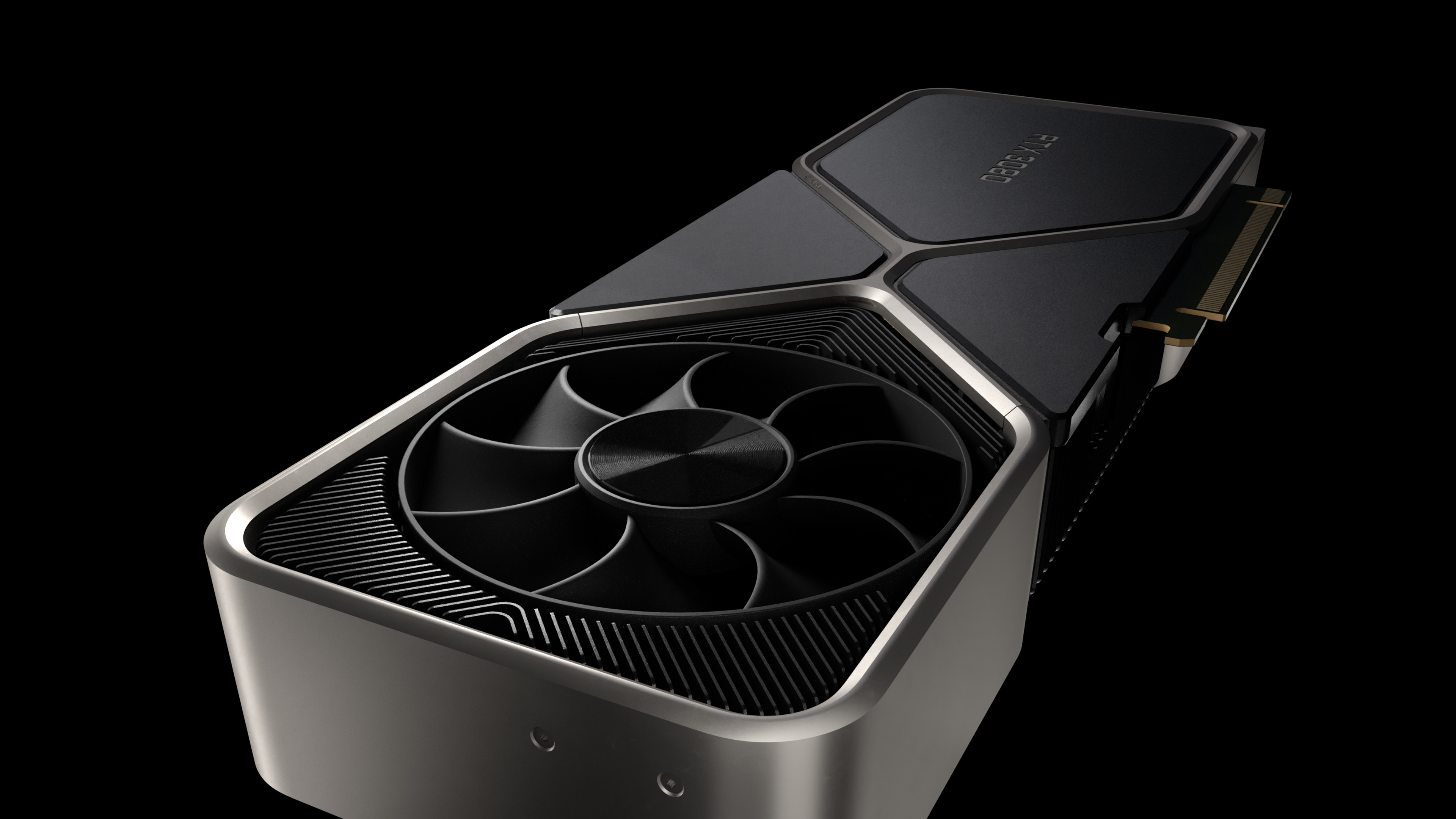A close-up of the fans on the RTX 3080
