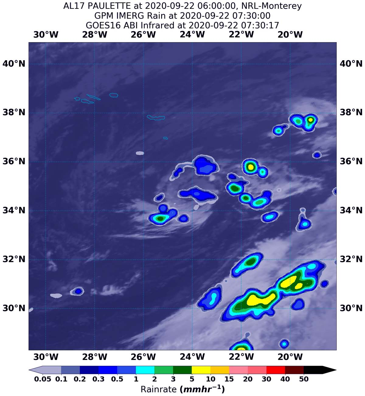 A map image with blue, green and yellow blotches indicating where rainfall was occuring during Paulette.
