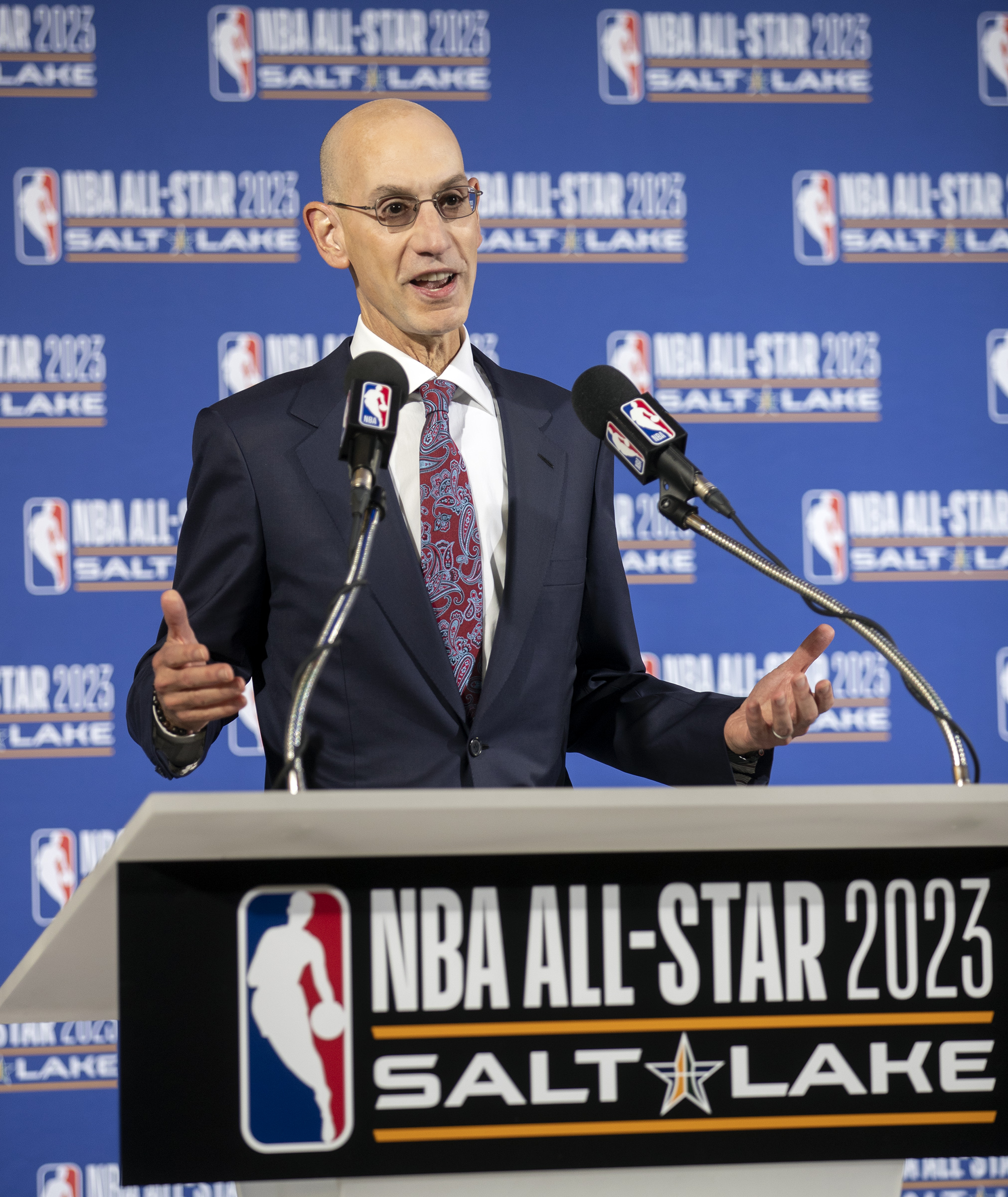 NBA commissioner Adam Silver announces that the 2023 NBA All-Star game will be held at Vivint Smart Home Arena in Salt Lake City on Wednesday, Oct. 23, 2019.