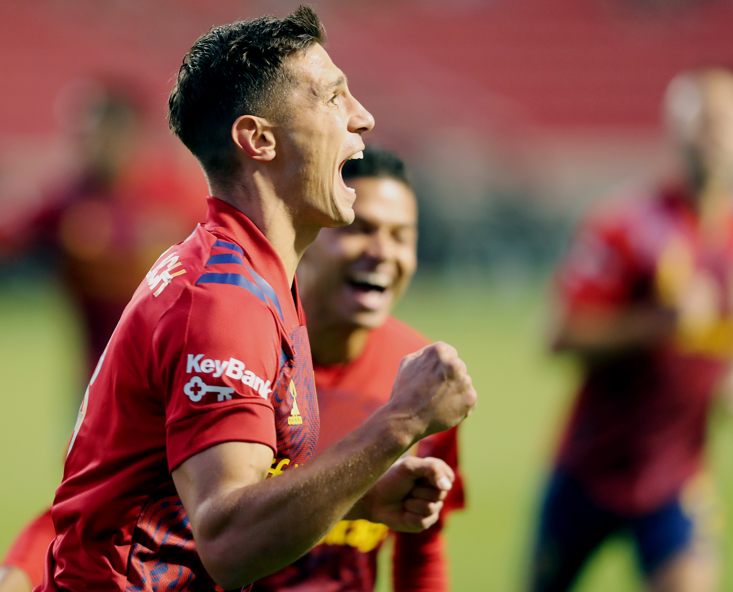 Real Salt Lake midfielder Damir Kreilach (8) celebrates a goal as Real Salt Lake and Los Angeles FC play an MLS game at Rio Tinto Stadium in Sandy on Wednesday, Sept. 9, 2020.