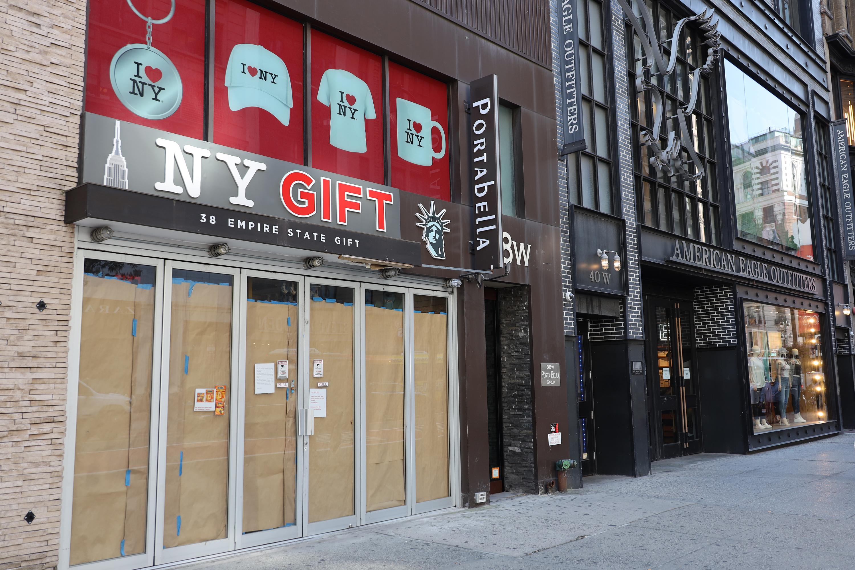 A shuttered souvenir store in Manhattan, Sept. 9, 2020.
