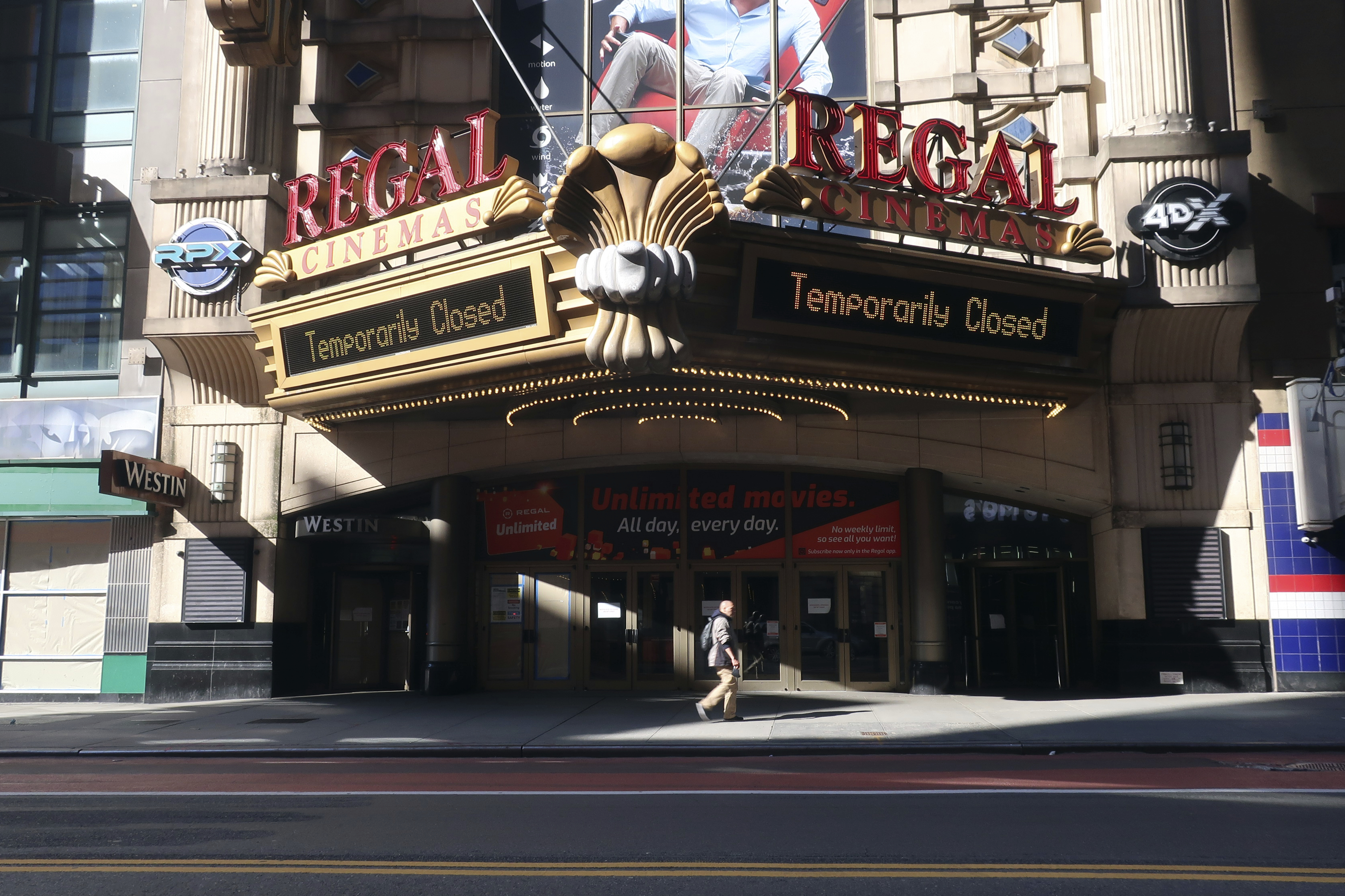A Regal Cinemas movie theater is closed during the coronavirus pandemic on Tuesday, May 5, 2020, in New York. (AP Photo/Ted Shaffrey)