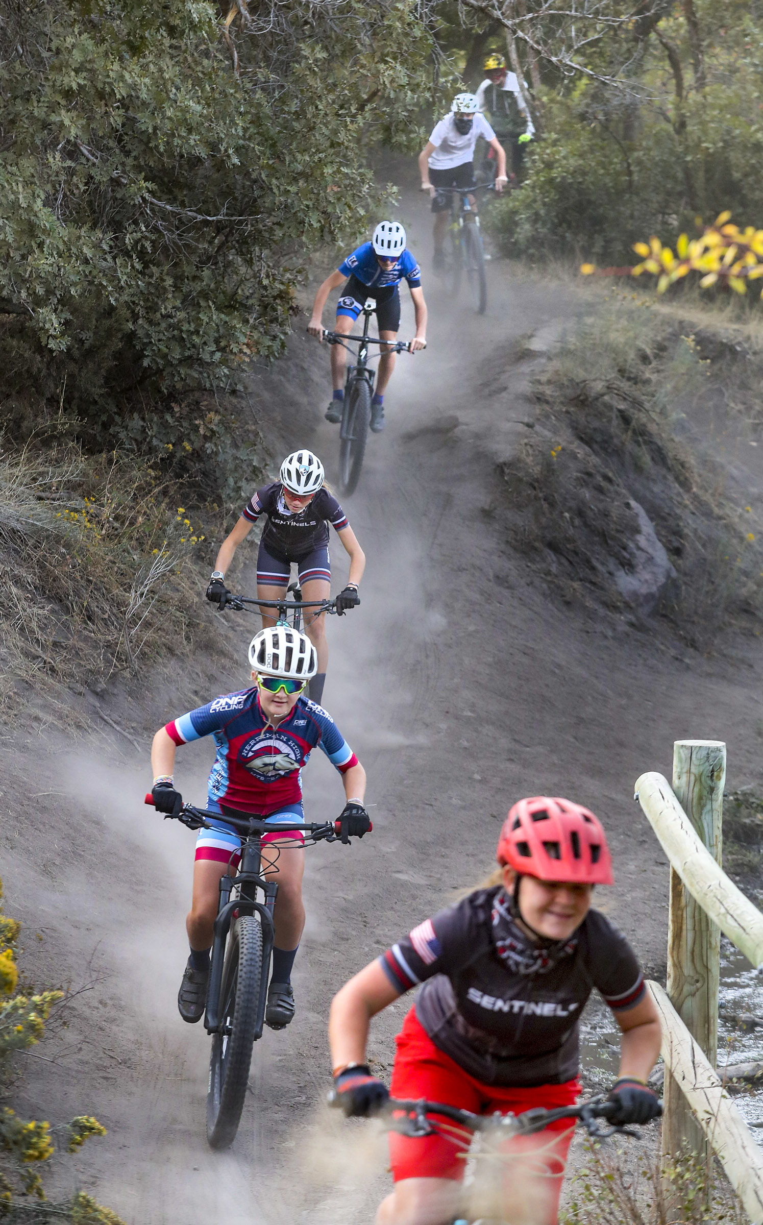 Mountain bikers from the Bingham, Herriman and Mountain Ridge high school club teams ride the trail system in Yellow Fork Canyon near Herriman on Tuesday, Sept. 22, 2020. A fundraising campaign by the teams raised $200,000 for Salt Lake County to improve trails in Yellow Fork and Butterfield canyons.