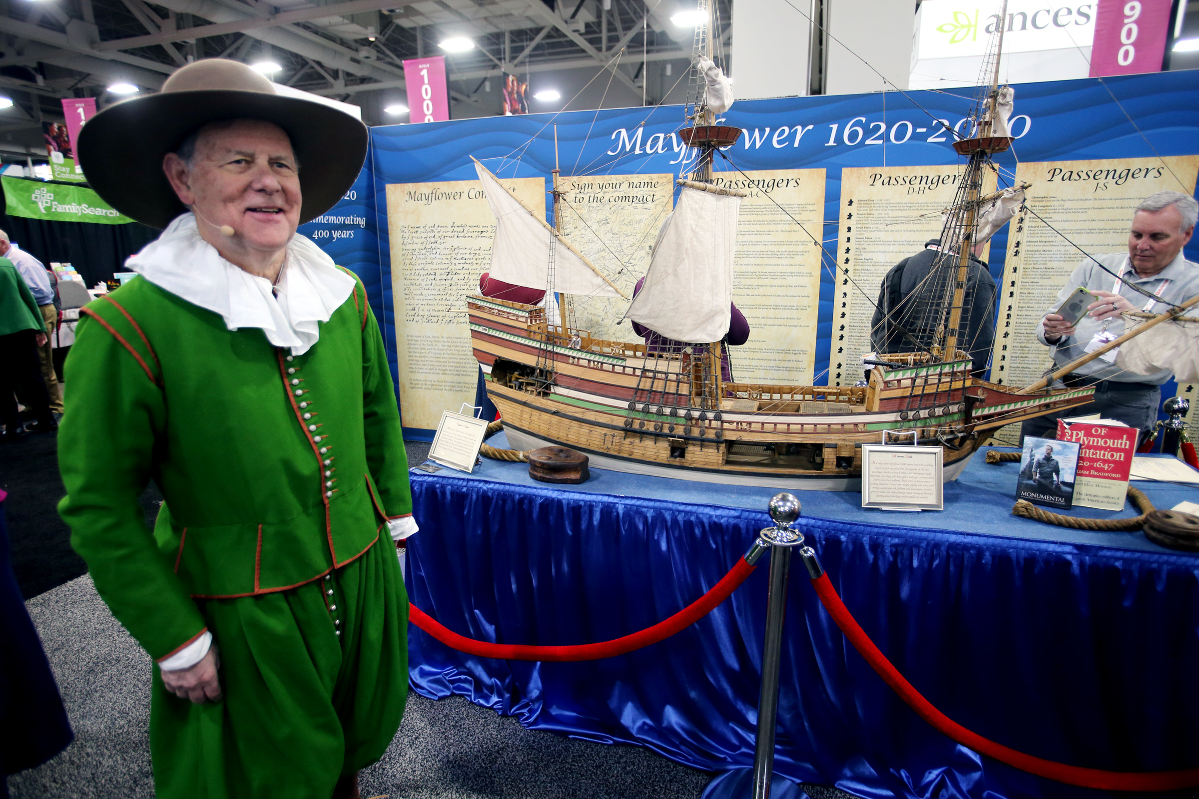 George Garmany, governor general of the General Society of Mayflower Descendants, stands next to a replica of the Mayflower during RootsTech at the Salt Palace Convention Center in Salt Lake City on Friday, Feb. 28, 2020.FamilySearch and the New England Historic Genealogical Society are working together with the General Society of Mayflower Descendants to digitize all of its member applications and publish family trees created from these documented Mayflower lines in order to make them available for free.