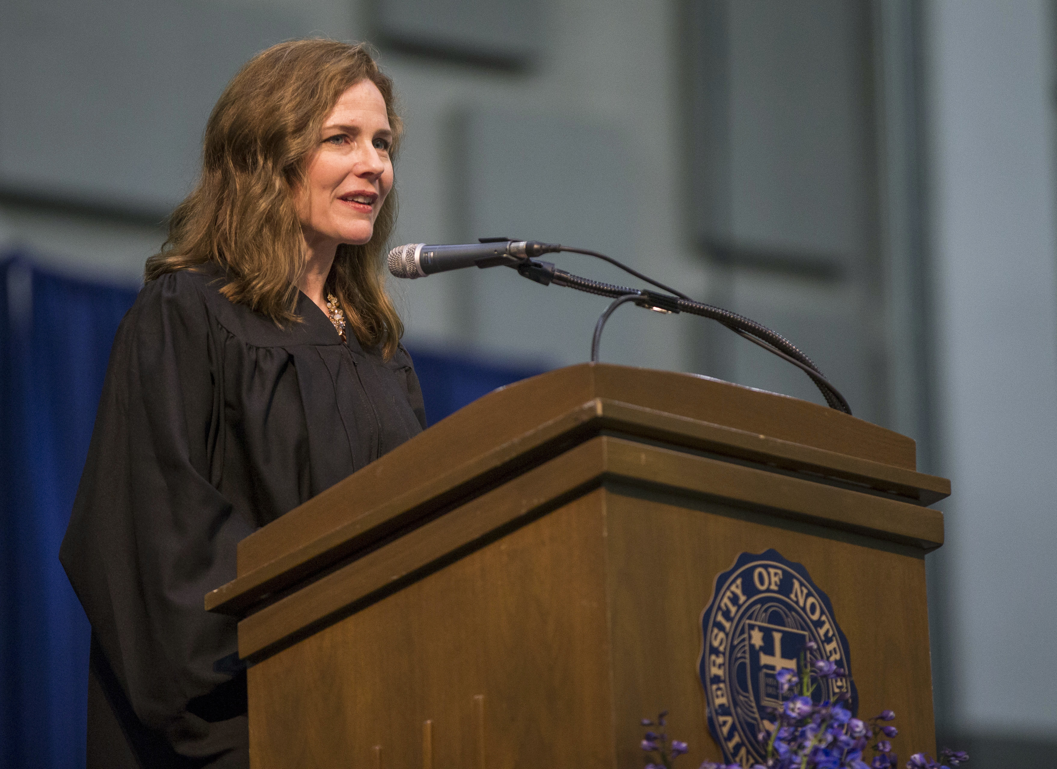 20180519 In this May 19, 2018, photo, Amy Coney Barrett, United States Court of Appeals for the Seventh Circuit judge, speaks during the University of Notre Dame's Law School commencement ceremony at the University of Notre Dame in South Bend, Ind. (Robert Franklin/South Bend Tribune via AP) Robert Franklin South Bend Tribune MAY 19, 2018, PHOTO. MANDATORY CREDIT