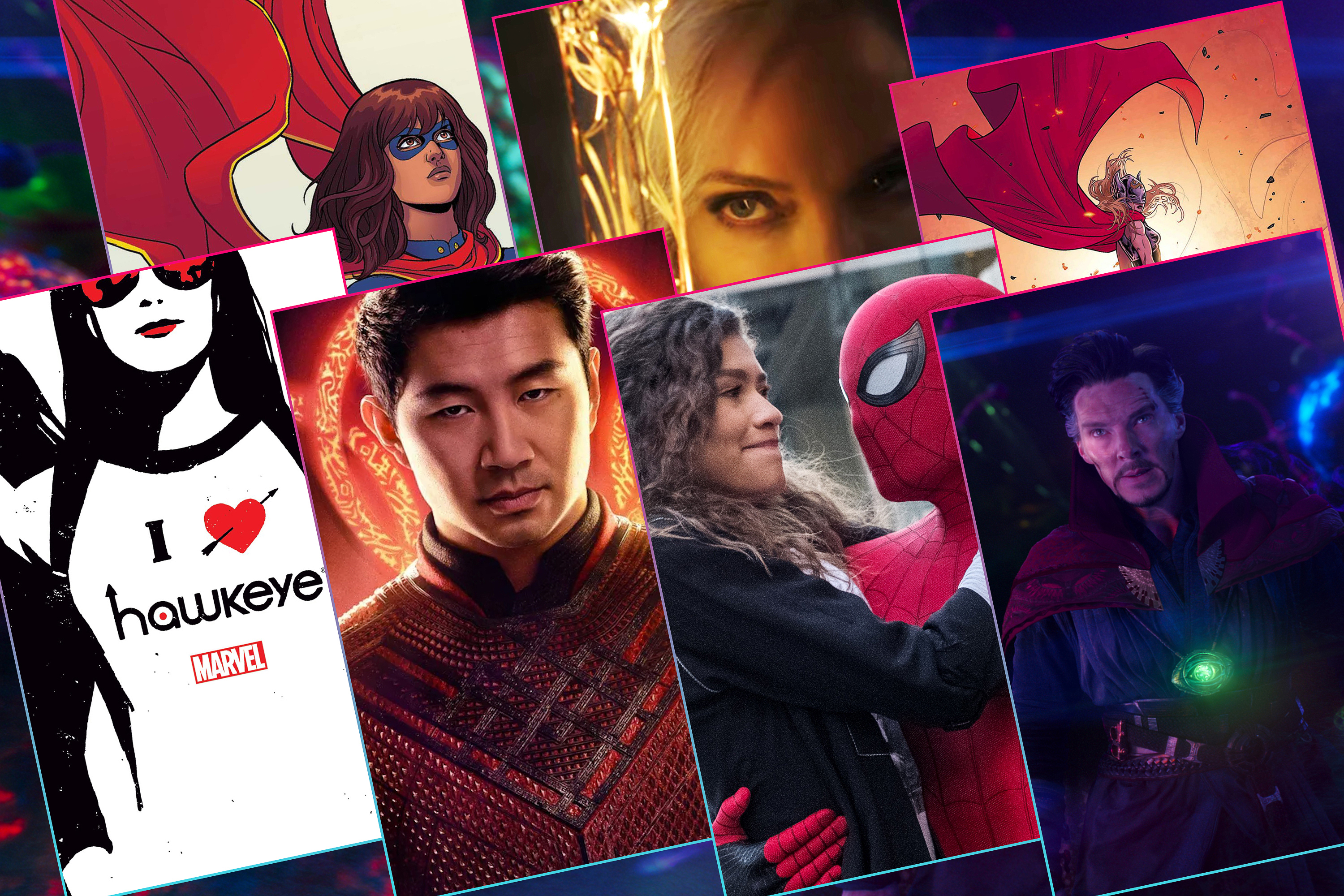 Graphic with a grid of seven different images of Marvel Super Heroes