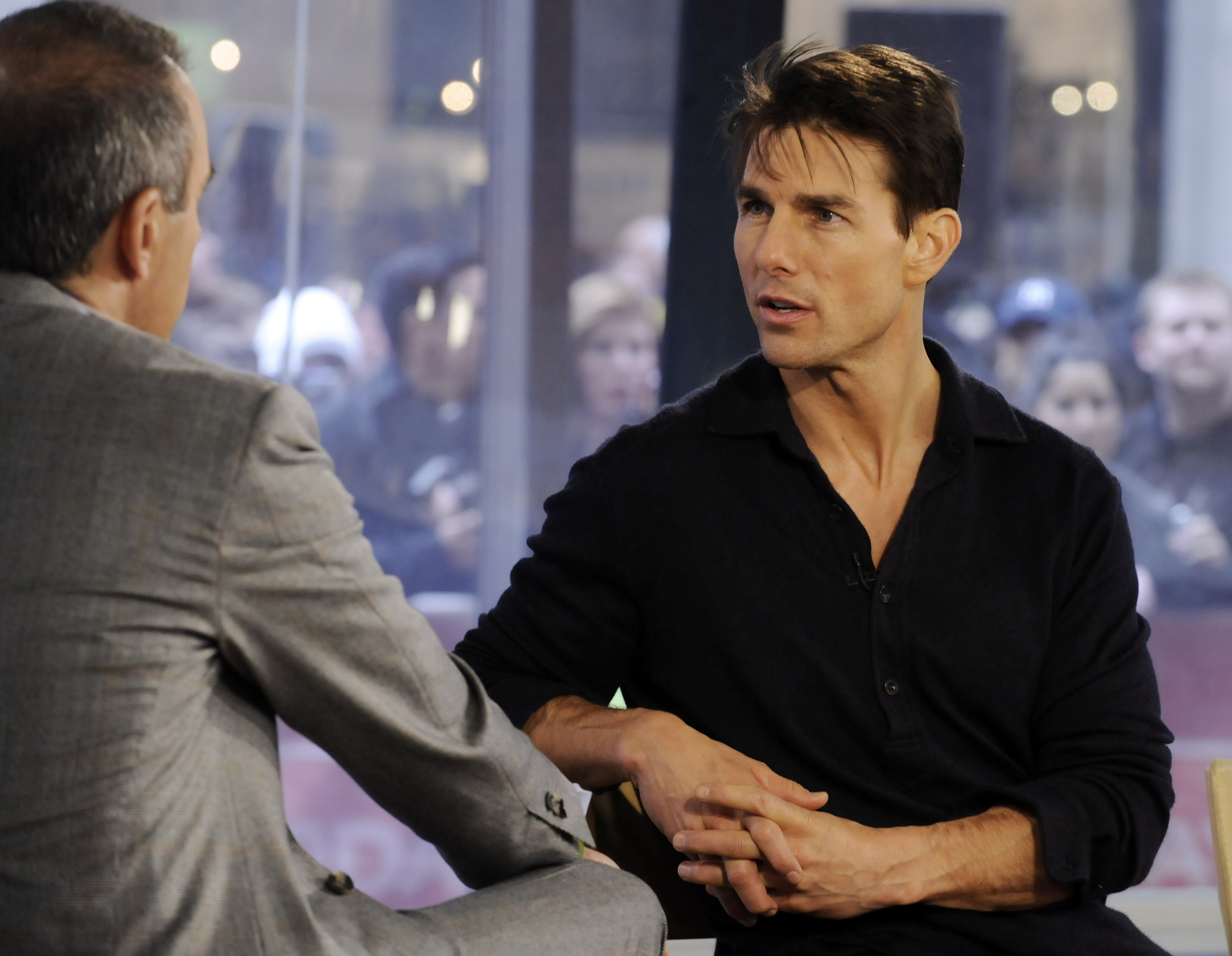 """Actor Tom Cruise, right, is interviewd by NBC """"Today"""" television show co-host Matt Lauer on the set in New York in 2008. Cruise will be boarding Axiom Commercial Space Station in 2021 to film a new action-adventure movie, it was confirmed last week."""