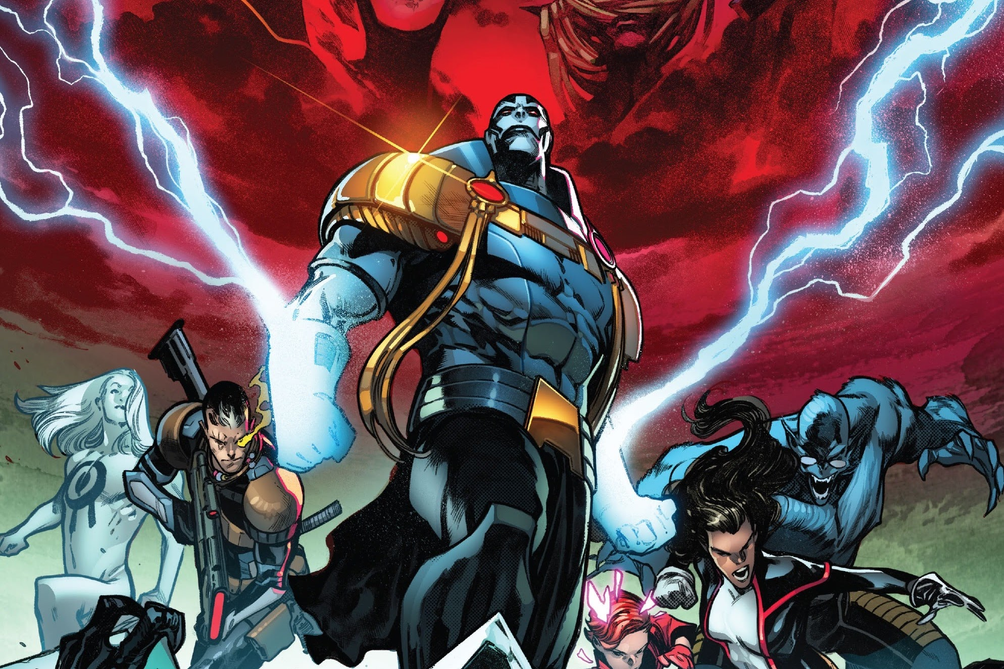Summoner, Cable, Apocalypse, Rachel Grey, Monet St. Crox, and Beast face a horde of monsters, as the faces of the Four Horsemen loom in the clouds behind them, on the cover of X of Swords: Creation #1, Marvel Comics (2020).