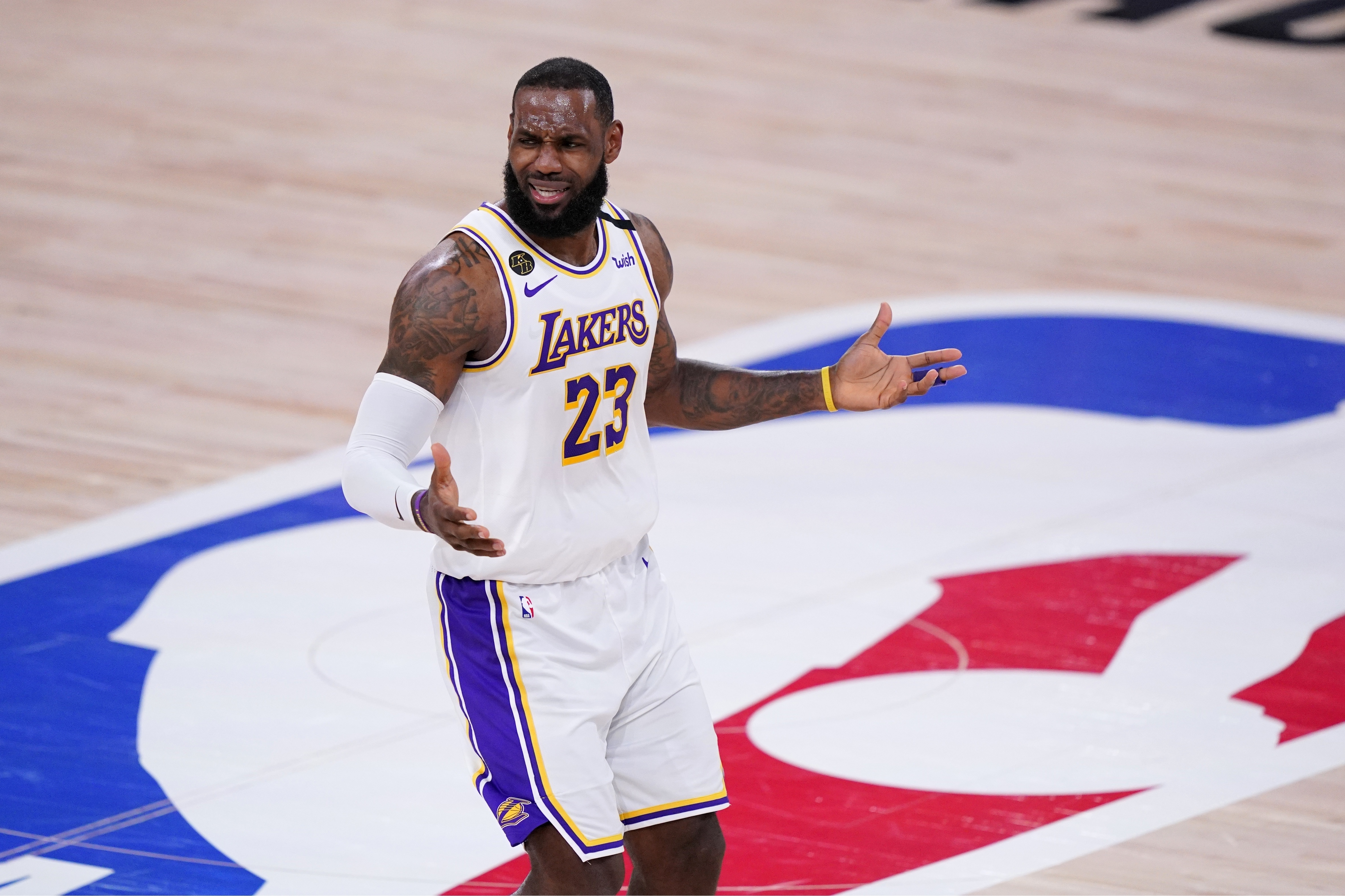 Los Angeles Lakers' LeBron James (23) gestures during the first half of Game 3 of the NBA basketball Western Conference final against the Denver Nuggets on Tuesday, Sept. 22, 2020, in Lake Buena Vista, Fla.