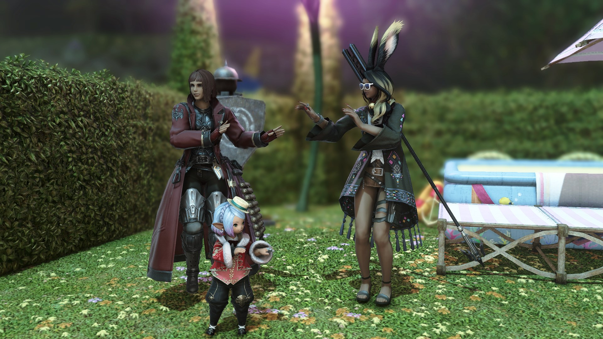 Three Final Fantasy characters do a hula-like dance in a front yard